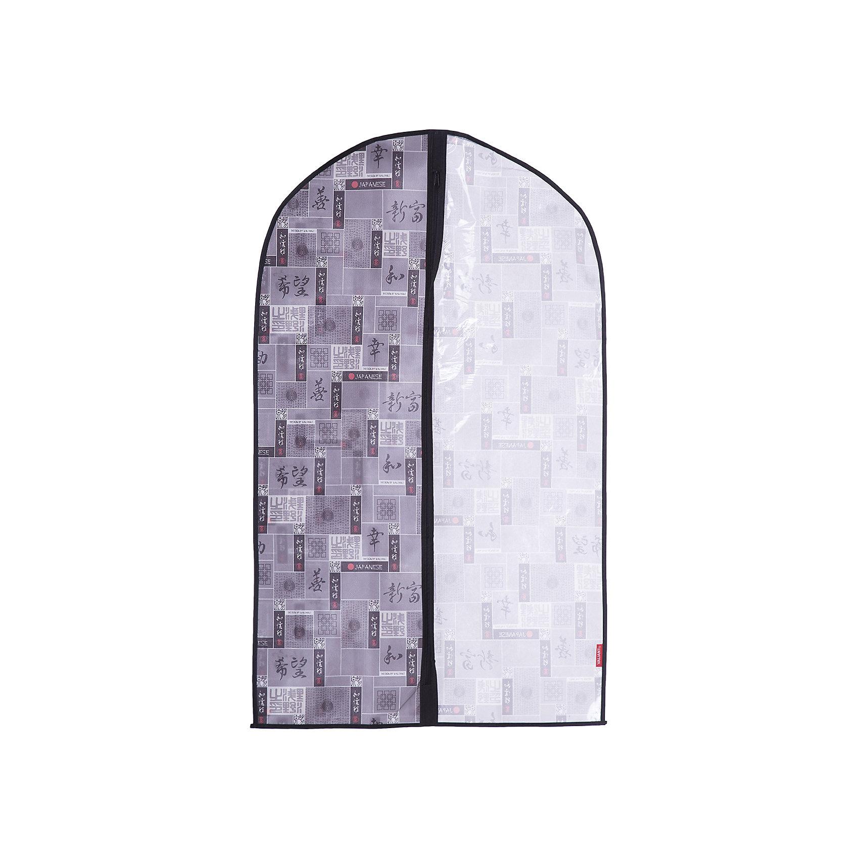 Чехол для одежды, малый, 60*100*10 см, JAPANESE BLACK, ValiantПорядок в детской<br>Чехол для одежды, малый, 60*100*10 см, JAPANESE BLACK, Valiant (Валиант) – это эстетичное решение для хранения одежды.<br>Чехол для одежды JAPANESE BLACK от Valiant (Валиант) разработан специально для хранения короткой верхней одежды: шуб, дубленок, пуховиков, пальто, плащей, костюмов и платьев. Он изготовлен из высококачественного нетканого материала, который обеспечивает естественную вентиляцию, позволяя воздуху проникать внутрь, но не пропускает пыль. Чехол очень удобен в использовании. Прозрачная вставка позволит увидеть вещь в чехле, не расстегивая его. Чехол легко открывается и закрывается застежкой-молнией. Идеально подойдет для хранения одежды и удобной перевозки. Чехол JAPANESE BLACK от Valiant (Валиант) гармонично смотрится в гардеробе. Лаконичный и сдержанный дизайн, напоминающий характер самурая, разработан специально для тех, кто предпочитает строгие линии и неяркие практичные цвета. В принте использованы японские иероглифы богатство, удача, благодеяние, гармония, мир и согласие.<br><br>Дополнительная информация:<br><br>- Размер: 60х100х10 см.<br>- Материал: нетканый материал, ПВХ<br>- Цвет: серый, черный<br><br>Чехол для одежды, малый, 60*100*10 см, JAPANESE BLACK, Valiant (Валиант) можно купить в нашем интернет-магазине.<br><br>Ширина мм: 205<br>Глубина мм: 10<br>Высота мм: 430<br>Вес г: 189<br>Возраст от месяцев: 36<br>Возраст до месяцев: 1080<br>Пол: Унисекс<br>Возраст: Детский<br>SKU: 4993438
