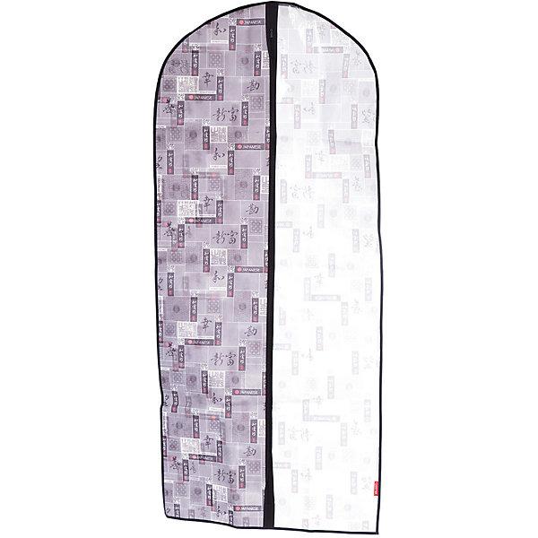 Чехол для одежды, большой, 60*137*10 см, JAPANESE BLACK, ValiantОрганайзеры для одежды<br>Чехол для одежды, большой, 60*137*10 см, JAPANESE BLACK, Valiant (Валиант) – это эстетичное решение для хранения одежды.<br>Чехол для одежды JAPANESE BLACK от Valiant (Валиант) разработан специально для хранения длинной верхней одежды: шуб, дубленок, пуховиков, пальто, плащей, костюмов и платьев. Он изготовлен из высококачественного нетканого материала, который обеспечивает естественную вентиляцию, позволяя воздуху проникать внутрь, но не пропускает пыль. Чехол очень удобен в использовании. Прозрачная вставка позволит увидеть вещь в чехле, не расстегивая его. Чехол легко открывается и закрывается застежкой-молнией. Идеально подойдет для хранения одежды и удобной перевозки. Чехол JAPANESE BLACK от Valiant (Валиант) гармонично смотрится в гардеробе. Лаконичный и сдержанный дизайн, напоминающий характер самурая, разработан специально для тех, кто предпочитает строгие линии и неяркие практичные цвета. В принте использованы японские иероглифы богатство, удача, благодеяние, гармония, мир и согласие.<br><br>Дополнительная информация:<br><br>- Размер: 60х137х10 см.<br>- Материал: нетканый материал, ПВХ<br>- Цвет: серый, черный<br><br>Чехол для одежды, большой, 60*137*10 см, JAPANESE BLACK, Valiant (Валиант) можно купить в нашем интернет-магазине.<br><br>Ширина мм: 210<br>Глубина мм: 15<br>Высота мм: 450<br>Вес г: 246<br>Возраст от месяцев: 36<br>Возраст до месяцев: 1080<br>Пол: Унисекс<br>Возраст: Детский<br>SKU: 4993439
