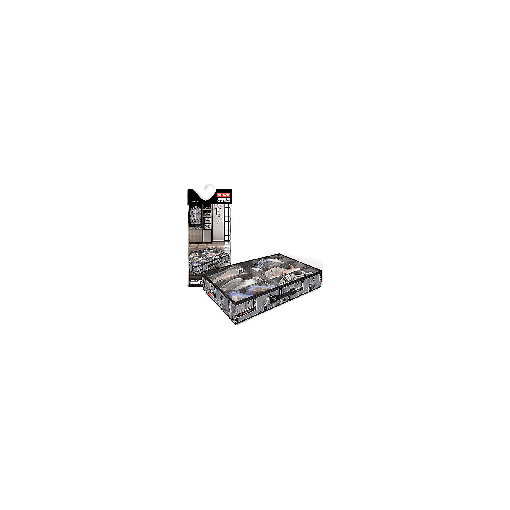 VALIANT Кофр для хранения обуви, 6 секций, 60*40*12 см, JAPANESE BLACK, Valiant коробки для хранения valiant кофр travelling photos 2 шт