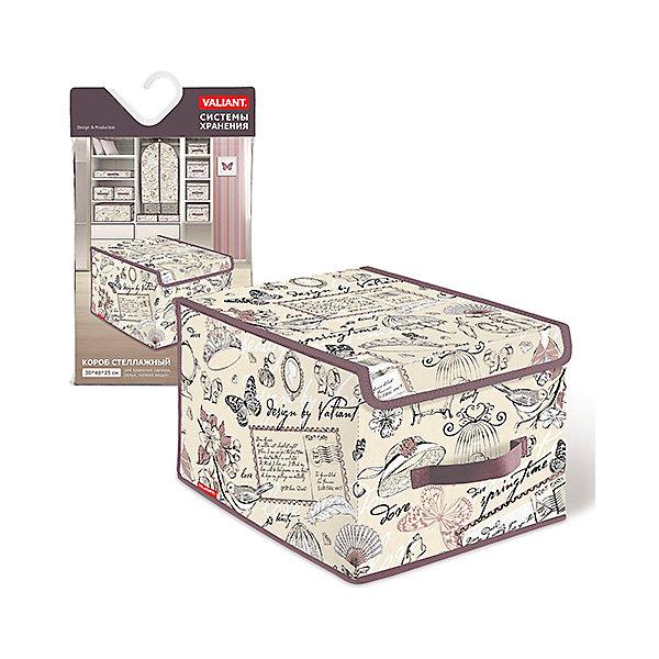 Короб стеллажный с крышкой, большой, 30*40*25 см, ROMANTIC, ValiantОрганайзеры для одежды<br>Короб стеллажный с крышкой, большой, 30*40*25 см, ROMANTIC, Valiant (Валиант) – это идеальное решение для хранения вещей.<br>Стеллажный короб ROMANTIC от Valiant (Валиант) для хранения одежды, белья и аксессуаров поможет организовать пространство на полках, избавит от беспорядка и спрячет вещи от посторонних глаз. Он изготовлен из высококачественного нетканого материала, который обеспечивает естественную вентиляцию, позволяя воздуху проникать внутрь, но не пропускает пыль. Вставки из плотного картона хорошо держат форму. Крышка короба фиксируется с помощью специальных магнитов. Наличие ручки позволяет удобно размещать короб на полке. Изделие отличается мобильностью: легко раскладывается и складывается. Короб ROMANTIC оформлен оригинальным нежным, изящным рисунком, который гармонично смотрится в женском гардеробе. Стеллажный короб ROMANTIC от Valiant (Валиант) создаст трогательную атмосферу романтического настроения и станет незаменимым аксессуаром.<br><br>Дополнительная информация:<br><br>- Размер: 30х40х25 см.<br>- Материал: нетканый материал, картон<br>- Цвет: пепельно-розовый, сиреневый<br><br>Короб стеллажный с крышкой, большой, 30*40*25 см, ROMANTIC, Valiant (Валиант) можно купить в нашем интернет-магазине.<br><br>Ширина мм: 300<br>Глубина мм: 25<br>Высота мм: 500<br>Вес г: 722<br>Возраст от месяцев: 36<br>Возраст до месяцев: 1080<br>Пол: Унисекс<br>Возраст: Детский<br>SKU: 4993460