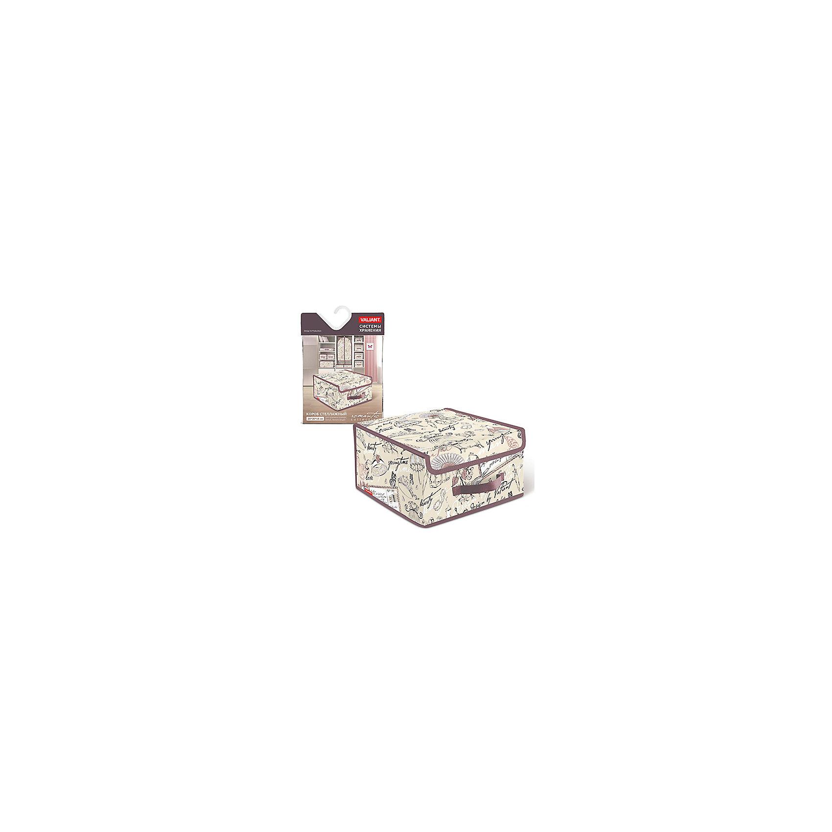 Короб стеллажный с крышкой, малый, 28*30*16 см, ROMANTIC, ValiantПорядок в детской<br>Короб стеллажный с крышкой, малый, 28*30*16 см, ROMANTIC, Valiant (Валиант) – это идеальное решение для хранения белья и мелких вещей.<br>Стеллажный короб ROMANTIC от Valiant (Валиант) оможет организовать пространство на полках, избавит от беспорядка и спрячет вещи от посторонних глаз. Он изготовлен из высококачественного нетканого материала, который обеспечивает естественную вентиляцию, позволяя воздуху проникать внутрь, но не пропускает пыль. Вставки из плотного картона хорошо держат форму. Крышка короба фиксируется с помощью специальных магнитов. Наличие ручки позволяет удобно размещать короб на полке. Изделие отличается мобильностью: легко раскладывается и складывается. Короб ROMANTIC оформлен оригинальным нежным, изящным рисунком, который гармонично смотрится в женском гардеробе. Стеллажный короб ROMANTIC от Valiant (Валиант) создаст трогательную атмосферу романтического настроения и станет незаменимым аксессуаром.<br><br>Дополнительная информация:<br><br>- Размер: 28х30х16 см.<br>- Материал: нетканый материал, картон<br>- Цвет: пепельно-розовый, сиреневый<br><br>Короб стеллажный с крышкой, малый, 28*30*16 см, ROMANTIC, Valiant (Валиант) можно купить в нашем интернет-магазине.<br><br>Ширина мм: 300<br>Глубина мм: 25<br>Высота мм: 400<br>Вес г: 431<br>Возраст от месяцев: 36<br>Возраст до месяцев: 1080<br>Пол: Унисекс<br>Возраст: Детский<br>SKU: 4993461