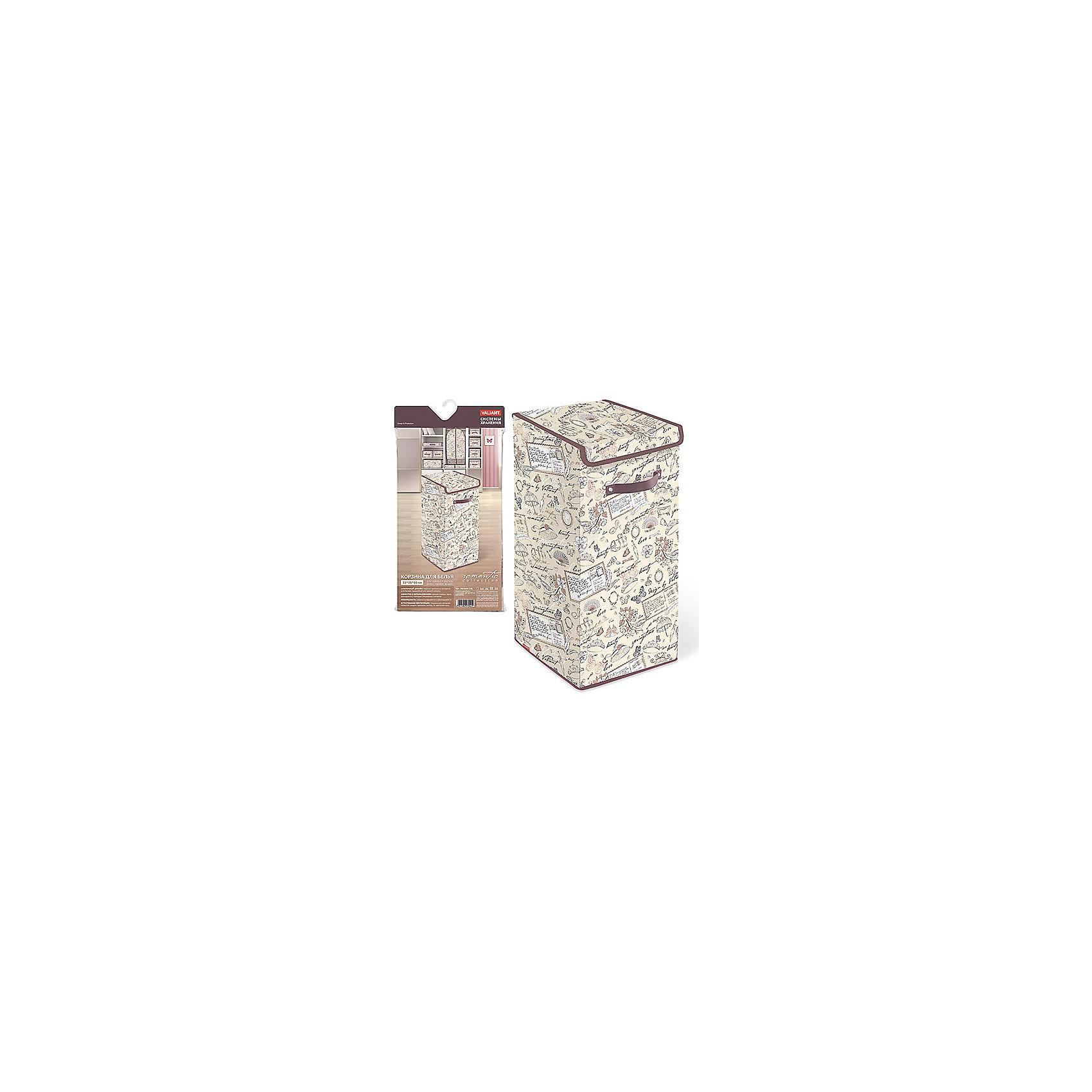 Корзина для белья с крышкой, 35*35*60 см, ROMANTIC, ValiantВанная комната<br>Корзина для белья с крышкой, 35*35*60 см, ROMANTIC, Valiant (Валиант) – это удобный аксессуар, обеспечивающий эстетичное хранение вещей.<br>Корзина для белья с крышкой ROMANTIC от Valiant (Валиант) гармонично смотрится в интерьере гардеробной или ванной комнаты. Она очень удобна и практична. Корзина идеально подойдет для сбора и хранения вещей перед стиркой. Она изготовлена из высококачественного нетканого материала, который обеспечивает естественную вентиляцию, позволяя воздуху проникать внутрь, но не пропускает пыль. Вставки из плотного картона хорошо держат форму. Крышка корзины фиксируется с помощью специальных магнитов. Наличие ручки позволяет легко перемещать корзину. Изделие отличается мобильностью: легко раскладывается и складывается. Корзина для белья с крышкой ROMANTIC от Valiant (Валиант) оформлена оригинальным нежным, изящным рисунком. Она создаст трогательную атмосферу романтического настроения и станет незаменимым аксессуаром.<br><br>Дополнительная информация:<br><br>- Размер: 35х35х60 см.<br>- Материал: нетканый материал, картон<br>- Цвет: пепельно-розовый, сиреневый<br><br>Корзину для белья с крышкой, 35*35*60 см, ROMANTIC, Valiant (Валиант) можно купить в нашем интернет-магазине.<br><br>Ширина мм: 350<br>Глубина мм: 25<br>Высота мм: 710<br>Вес г: 1525<br>Возраст от месяцев: 36<br>Возраст до месяцев: 1080<br>Пол: Унисекс<br>Возраст: Детский<br>SKU: 4993462