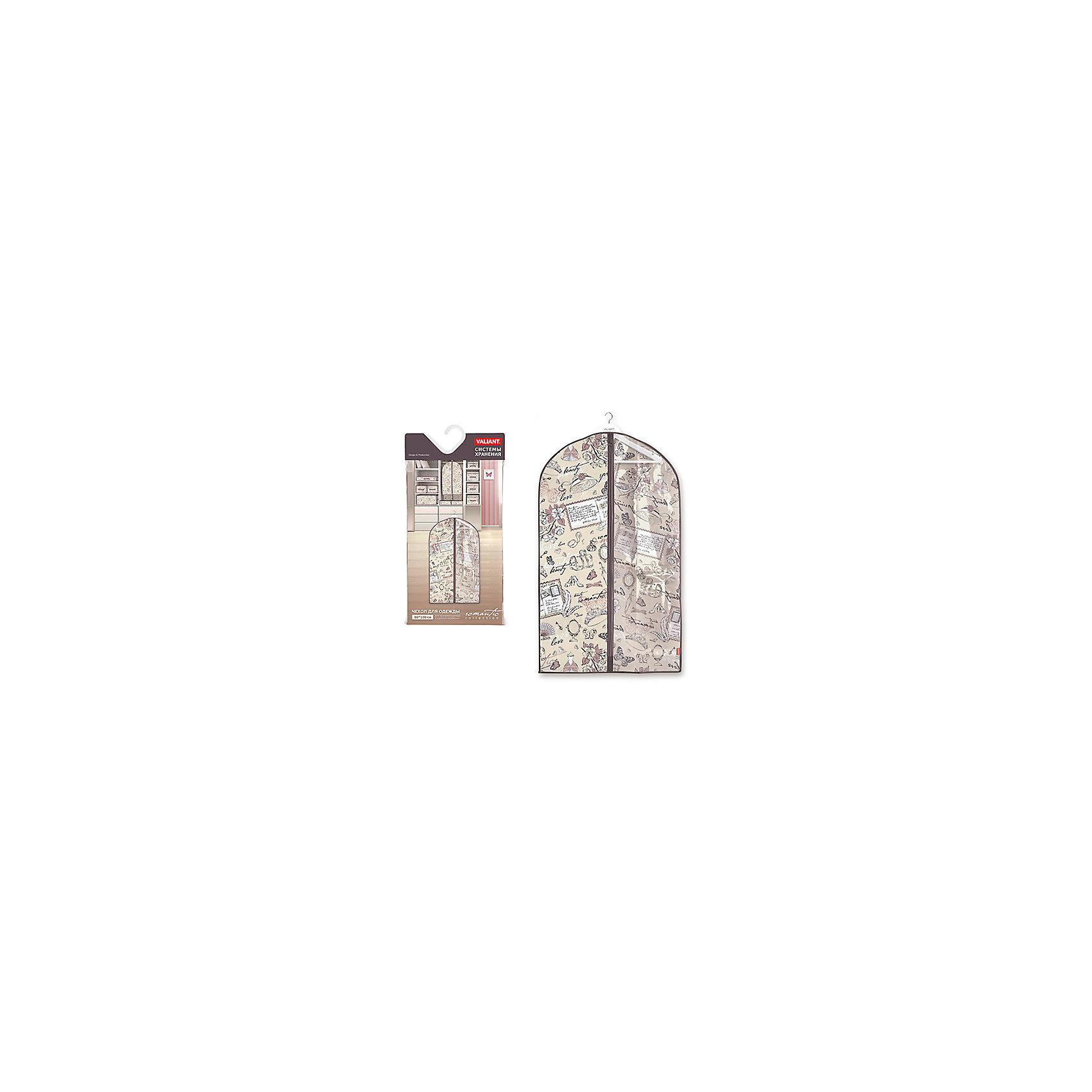 VALIANT Чехол для одежды с прозрачной вставкой, малый, 60*100 см, ROMANTIC, Valiant чехол для одежды hausmann подвесной с прозрачной вставкой цвет серый 60 х 100 см