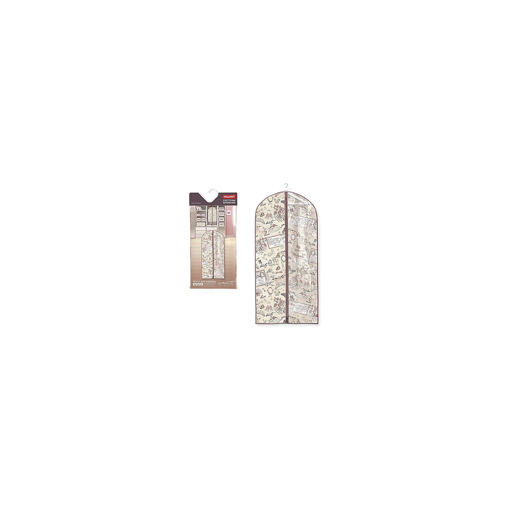 Чехол для одежды с прозрачной вставкой, большой, 60*137 см, ROMANTIC, ValiantПорядок в детской<br>Чехол для одежды с прозрачной вставкой, большой, 60*137 см, ROMANTIC, Valiant (Валиант) – это эстетичное решение для хранения одежды.<br>Чехол для одежды ROMANTIC от Valiant (Валиант) разработан специально для хранения длинной верхней одежды: шуб, дубленок, пуховиков, пальто, плащей, костюмов и платьев. Он изготовлен из высококачественного нетканого материала, который обеспечивает естественную вентиляцию, позволяя воздуху проникать внутрь, но не пропускает пыль. Чехол очень удобен в использовании. Прозрачная вставка позволит увидеть вещь в чехле, не расстегивая его. Чехол легко открывается и закрывается застежкой-молнией. Идеально подойдет для хранения одежды и удобной перевозки. Чехол оформлен оригинальным нежным, изящным рисунком, который гармонично смотрится в женском гардеробе. Чехол для одежды ROMANTIC от Valiant (Валиант) создаст трогательную атмосферу романтического настроения и станет незаменимым аксессуаром.<br><br>Дополнительная информация:<br><br>- Размер: 60х137см.<br>- Материал: нетканый материал, ПВХ<br>- Цвет: пепельно-розовый<br><br>Чехол для одежды с прозрачной вставкой, большой, 60*137 см, ROMANTIC, Valiant (Валиант) можно купить в нашем интернет-магазине.<br><br>Ширина мм: 210<br>Глубина мм: 15<br>Высота мм: 450<br>Вес г: 225<br>Возраст от месяцев: 36<br>Возраст до месяцев: 1080<br>Пол: Унисекс<br>Возраст: Детский<br>SKU: 4993464