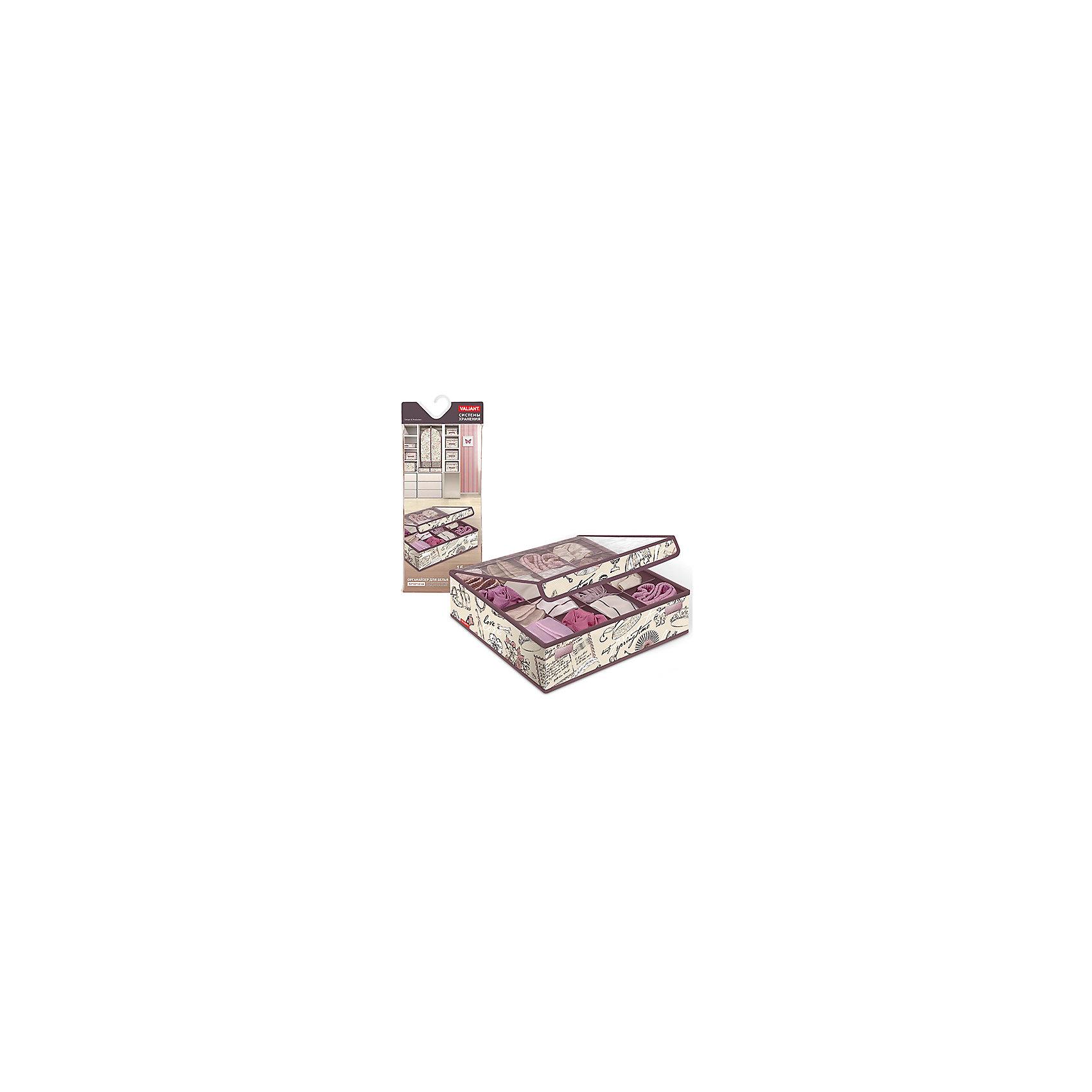 Органайзер для белья и носков с крышкой, 16 секций, 32*32*12 см,  ROMANTIC, ValiantПорядок в детской<br>Органайзер для белья и носков с крышкой, 16 секций, 32*32*12 см,  ROMANTIC, Valiant (Валиант) – это идеальное решения для хранения белья.<br>Универсальный органайзер для белья ROMANTIC от Valiant (Валиант) разработан для хранения трусиков, носочков и другого мелкого белья. Он изготовлен из высококачественного нетканого материала, который обеспечивает естественную вентиляцию, позволяя воздуху проникать внутрь, но не пропускает пыль. Вставки из плотного картона хорошо держат форму. Мягкие перегородки образуют 16 секций и позволяют вещам удобно разместиться внутри. Прозрачная крышка фиксируется с помощью специальных магнитов и позволяет увидеть вещи, не открывая органайзер. Органайзер адаптирован под размеры стандартной мебели. Изделие отличается мобильностью: легко раскладывается и складывается. Органайзер оформлен оригинальным нежным, изящным рисунком, который гармонично смотрится в женском гардеробе. Органайзер для белья ROMANTIC от Valiant (Валиант) создаст трогательную атмосферу романтического настроения и станет незаменимым аксессуаром.<br><br>Дополнительная информация:<br><br>- Количество секций: 16<br>- Размер: 32х32х12 см.<br>- Материал: нетканый материал, картон<br>- Цвет: пепельно-розовый, сиреневый<br><br>Органайзер для белья и носков с крышкой, 16 секций, 32*32*12 см,  ROMANTIC, Valiant (Валиант) можно купить в нашем интернет-магазине.<br><br>Ширина мм: 160<br>Глубина мм: 20<br>Высота мм: 415<br>Вес г: 328<br>Возраст от месяцев: 36<br>Возраст до месяцев: 1080<br>Пол: Унисекс<br>Возраст: Детский<br>SKU: 4993465