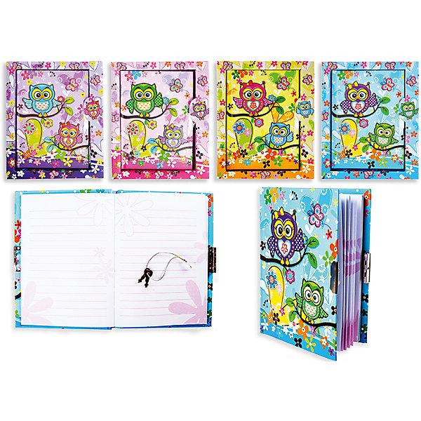 Записная книжка Совы с замочком (в ассортименте)Последняя цена<br>Записная книжка – незаменимая вещь в современном мире. Никакие гаджеты не заменят такой нужный аксессуар. Совы – новый тренд, который оценят все девочки, следящие за миром моды. Милый дизайн и стильная модель записной книжки создают вместе уникальный блокнот. Обложка выполнена в ярких цветах с применением блесток. В комплект входит шариковая ручка. На листах блокнота напечатана линейка. Примечательно, что у записной книжки есть замочек, который надежно сохранит все секреты малышки. Благодаря этому ребенок будет чаще писать в блокнот и развивать талант писателя. <br><br>Дополнительная информация: <br><br>количество страниц: 96;<br>габариты: 15х18 см;<br>цвет: разноцветный.<br><br>Записную книжку с замочком «Совы» можно приобрести в нашем магазине.<br><br>Ширина мм: 100<br>Глубина мм: 100<br>Высота мм: 10<br>Вес г: 50<br>Возраст от месяцев: 36<br>Возраст до месяцев: 120<br>Пол: Унисекс<br>Возраст: Детский<br>SKU: 4993536