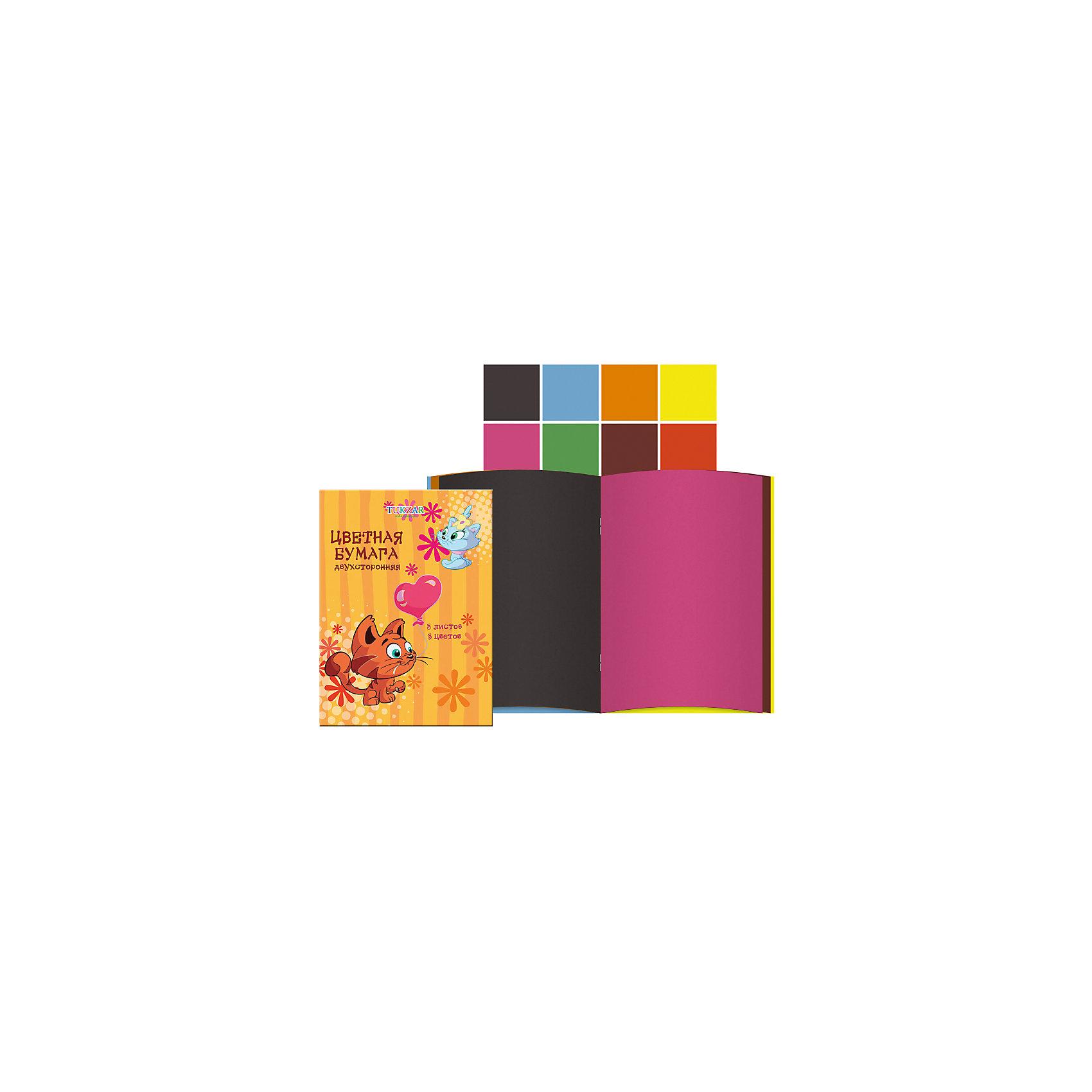 Двусторонняя цветная бумага А4, 8 цветов, 8 листовДвухсторонняя цветная бумага – важный и частый пункт в списке школьных покупок. Цветную бумагу используют для декорирования, моделирования и аппликации. Бумага быстро заканчивается, поэтому можно выбрать понравившуюся модель и докупать при необходимости только ее, а не тратить время на поиски новой. Цветная бумага от компании Tukzar  понравится всем детям и их мамам. У бумаги удобная плотность для складывания и разрезания, а так же яркие и насыщенные цвета. Все материалы, использованные при изготовлении, отвечают международным требованиям по качеству и безопасности.<br><br>Дополнительная информация: <br><br>количество цветов: 8 шт;<br>формат: А4;<br>плотность: 48г/м2.<br><br>Двухстороннюю цветную бумагу можно приобрести в нашем магазине.<br><br>Ширина мм: 100<br>Глубина мм: 100<br>Высота мм: 10<br>Вес г: 50<br>Возраст от месяцев: 36<br>Возраст до месяцев: 120<br>Пол: Унисекс<br>Возраст: Детский<br>SKU: 4993570