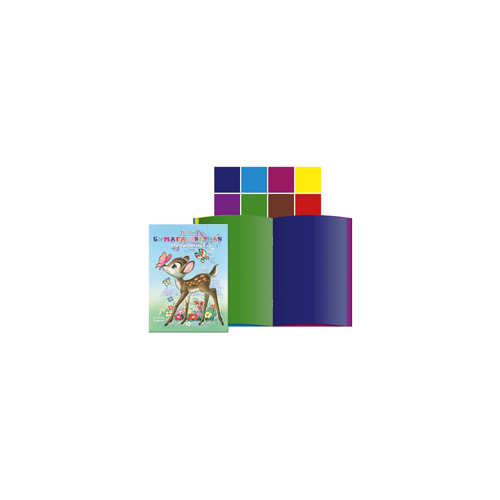 Цветная бумага А4, 8 цветов, 16 листовЦветная бумага – важный и частый пункт в списке школьных покупок. Цветную бумагу используют для декорирования, моделирования и аппликации. Бумага быстро заканчивается, поэтому можно выбрать понравившуюся модель и докупать при необходимости только ее, а не тратить время на поиски новой. Цветная бумага от компании Tukzar  понравится всем детям и их мамам. У бумаги удобная плотность для складывания и разрезания, а так же яркие и насыщенные цвета. Все материалы, использованные при изготовлении, отвечают международным требованиям по качеству и безопасности.<br><br>Дополнительная информация: <br><br>количество цветов: 8 шт;<br>количество листов: 16;<br>формат: А4.<br><br>Цветную бумагу можно приобрести в нашем магазине.<br><br>Ширина мм: 100<br>Глубина мм: 100<br>Высота мм: 10<br>Вес г: 50<br>Возраст от месяцев: 36<br>Возраст до месяцев: 120<br>Пол: Унисекс<br>Возраст: Детский<br>SKU: 4993571