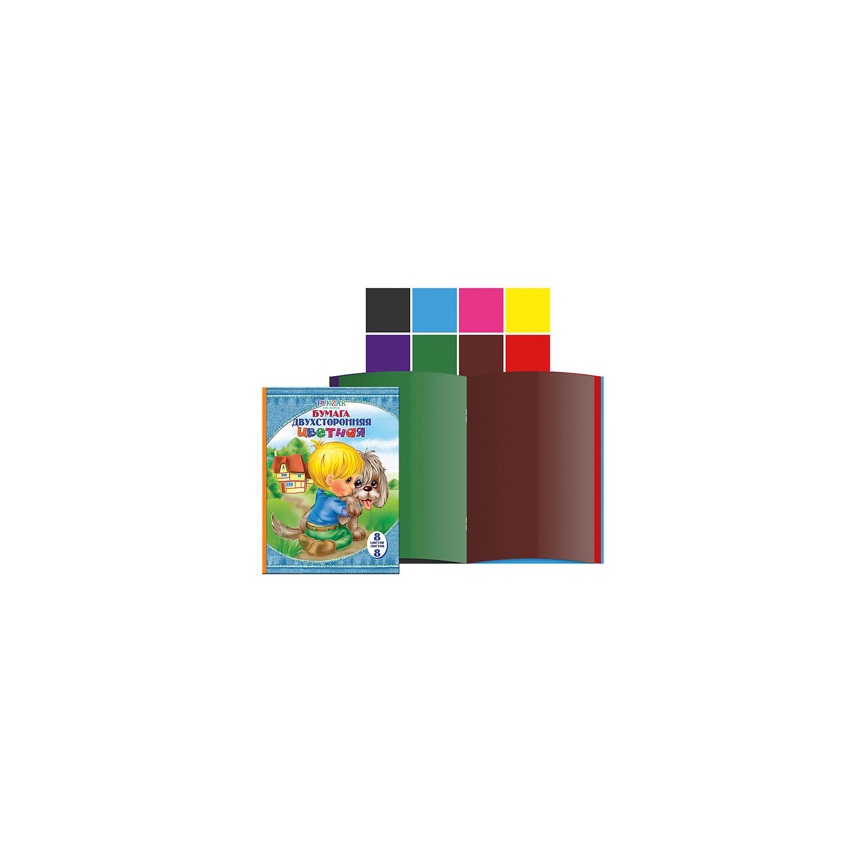 TUKZAR Двусторонняя цветная бумага А4, 8 цветов, 8 листов канцелярия спейс цветная бумага самоклеящаяся а4 10 цветов в папке 10 листов