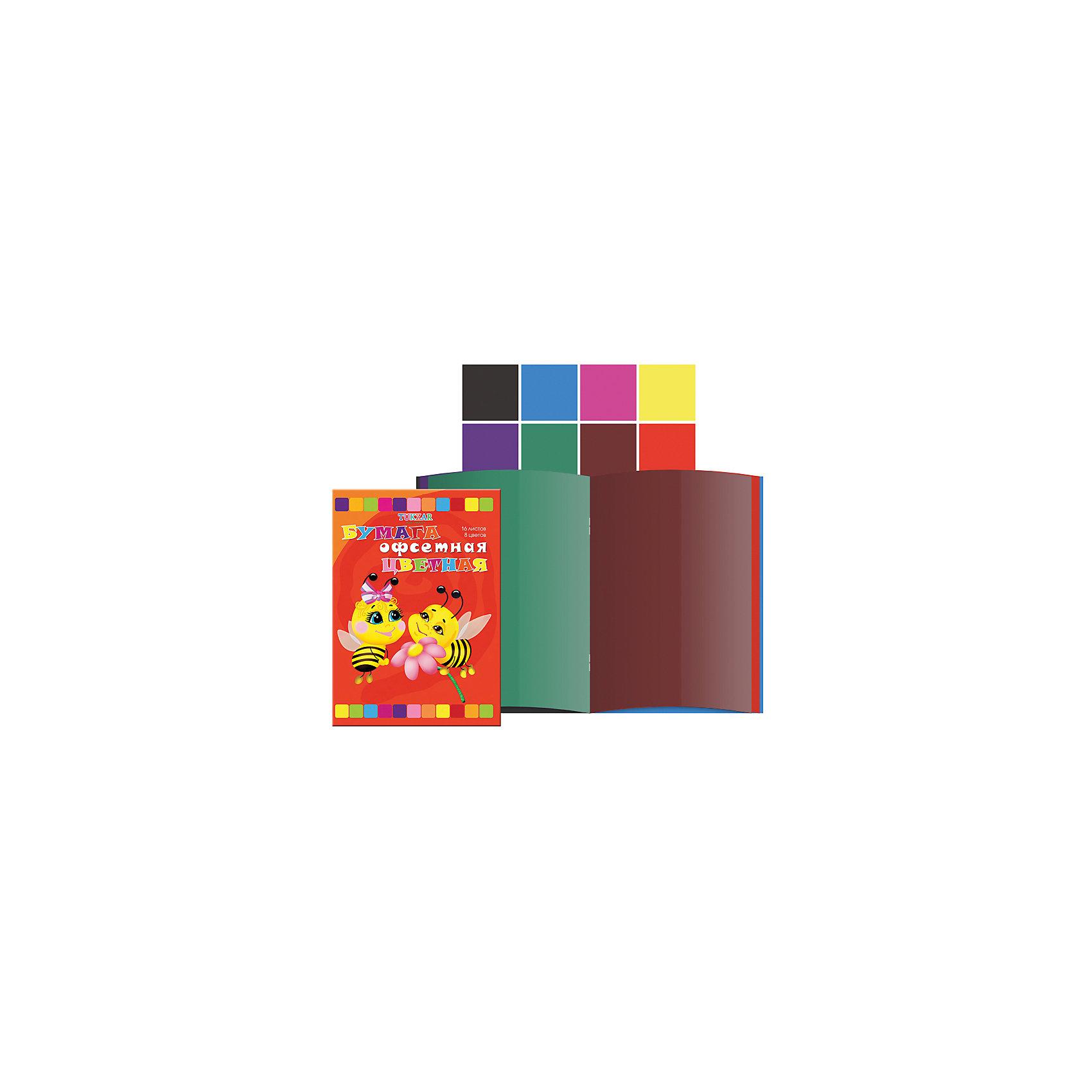 Цветная бумага А4, 8 цветов, 16 листовОфсетная цветная бумага – важный и частый пункт в списке школьных покупок. Цветную бумагу используют для декорирования, моделирования и аппликации. Бумага быстро заканчивается, поэтому можно выбрать понравившуюся модель и докупать при необходимости только ее, а не тратить время на поиски новой. Цветная бумага от компании Tukzar  понравится всем детям и их мамам. У бумаги удобная плотность для складывания и разрезания, а так же яркие и насыщенные цвета. Все материалы, использованные при изготовлении, отвечают международным требованиям по качеству и безопасности.<br><br>Дополнительная информация: <br><br>количество цветов: 8 шт;<br>количество листов: 16;<br>формат: А4.<br><br>Офсетную цветную бумагу можно приобрести в нашем магазине.<br><br>Ширина мм: 100<br>Глубина мм: 100<br>Высота мм: 10<br>Вес г: 50<br>Возраст от месяцев: 36<br>Возраст до месяцев: 120<br>Пол: Унисекс<br>Возраст: Детский<br>SKU: 4993573