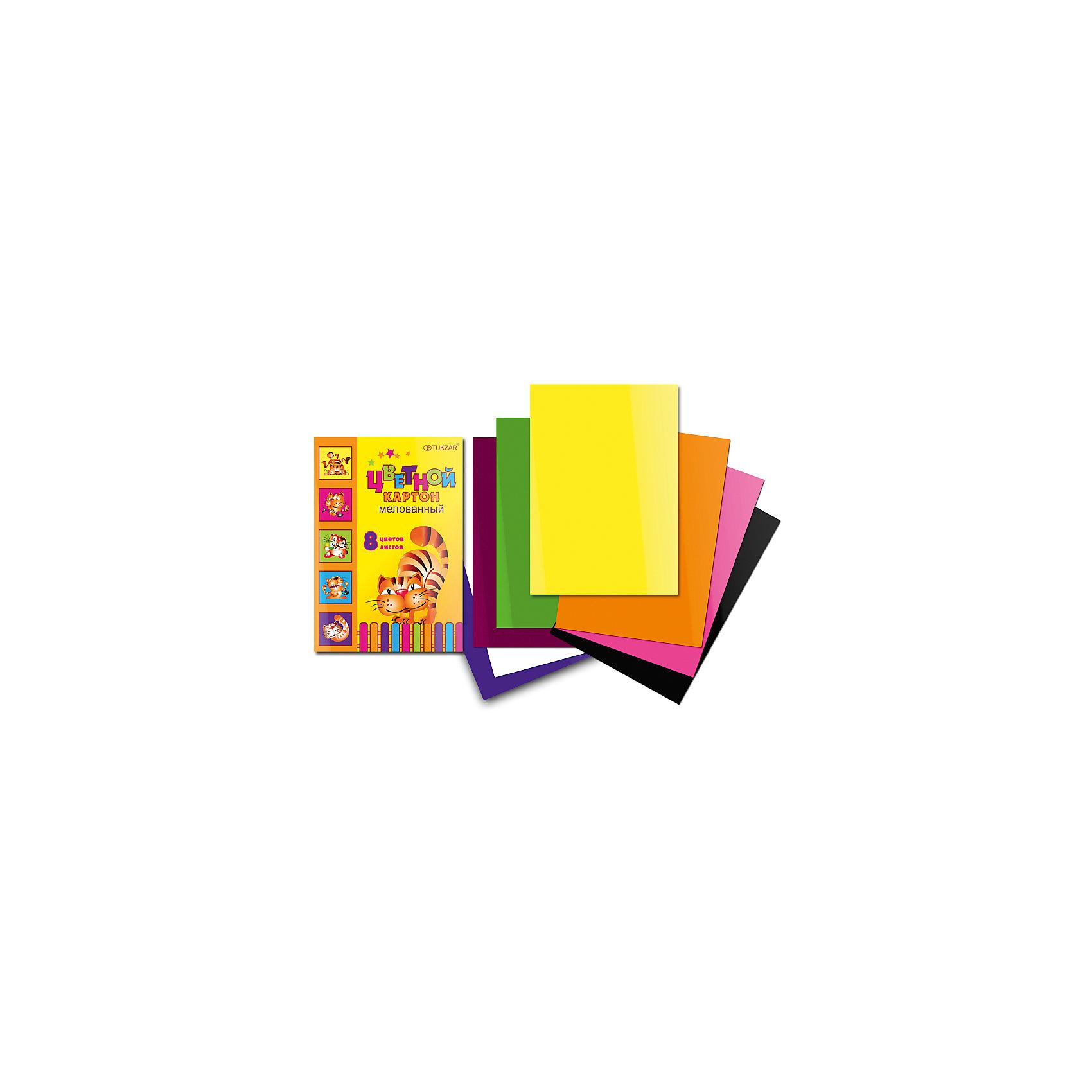 Цветной картон, 8 цветов, 8 листовЦветной мелованный картон – основа творчества на уроках труда в школе. Цветной картон используют для декорирования, моделирования и аппликации. Картон быстро заканчивается, поэтому можно выбрать понравившуюся модель и докупать при необходимости только ее, а не тратить время на поиски новой. Цветная картон от компании Tukzar  понравится всем детям и их мамам. У бумаги удобная плотность для складывания и разрезания, а так же яркие и насыщенные цвета. Все материалы, использованные при изготовлении, отвечают международным требованиям по качеству и безопасности.<br><br>Дополнительная информация: <br><br>количество цветов: 8 шт;<br>количество листов: 8;<br>формат: А4.<br><br>Цветной мелованный картон можно приобрести в нашем магазине.<br><br>Ширина мм: 100<br>Глубина мм: 100<br>Высота мм: 10<br>Вес г: 50<br>Возраст от месяцев: 36<br>Возраст до месяцев: 120<br>Пол: Унисекс<br>Возраст: Детский<br>SKU: 4993575