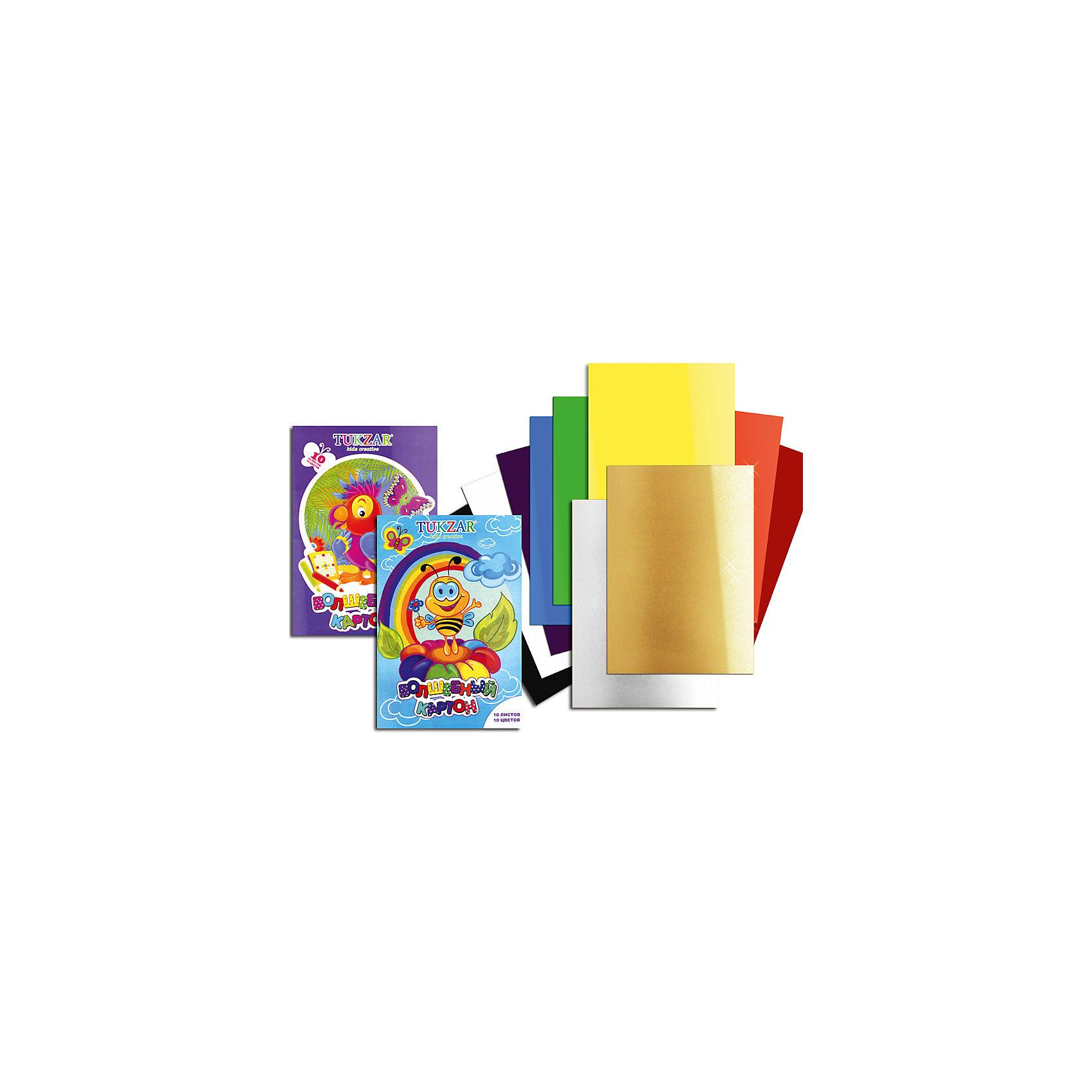 Цветной картон Волшебный А4, 10 цветов, 10 листовБумажная продукция<br>Цветной мелованный картон – основа творчества на уроках труда в школе. Цветной картон используют для декорирования, моделирования и аппликации. Картон быстро заканчивается, поэтому можно выбрать понравившуюся модель и докупать при необходимости только ее, а не тратить время на поиски новой. Цветная картон «Волшебный» от компании Tukzar  понравится всем детям и их мамам. У бумаги удобная плотность для складывания и разрезания, а так же яркие и насыщенные цвета. Все материалы, использованные при изготовлении, отвечают международным требованиям по качеству и безопасности.<br><br>Дополнительная информация: <br><br>количество цветов: 10 шт;<br>количество листов: 10;<br>формат: А4.<br><br>Цветной мелованный картон «Волшебный» можно приобрести в нашем магазине.<br><br>Ширина мм: 100<br>Глубина мм: 100<br>Высота мм: 10<br>Вес г: 50<br>Возраст от месяцев: 36<br>Возраст до месяцев: 120<br>Пол: Унисекс<br>Возраст: Детский<br>SKU: 4993577