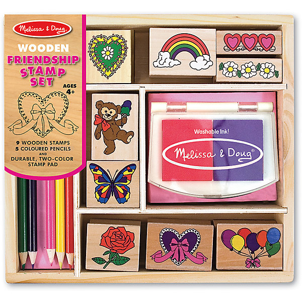 Набор печатей ДружбаДетские печати и штампы<br>Такой набор печатей - это отличный вариант подарка ребенку, который одновременно и развлечет малыша, и позволит ему развивать важные навыки. Игра с печатями способствует развитию у малышей мелкой моторики, цветовосприятия, художественного вкуса, внимания и воображения. <br>В набор входит нетоксичная штемпельная подушечка, восемь печатей с разными картинками, которые обязательно понравятся девочкам. Также в наборе есть цветные карандаши. Набор отличается удобной упаковкой, простотой использования и отличным качеством исполнения. <br><br>Дополнительная информация:<br><br>комплектация: карандаши пять цветов, штемпельная подушка, восемь печатей;<br>упаковка: деревянный ящик;<br>возраст: от четырех лет.<br><br>Набор печатей «Дружба» от бренда Melissa&amp;Doug можно купить в нашем магазине.<br><br>Ширина мм: 220<br>Глубина мм: 40<br>Высота мм: 200<br>Вес г: 499<br>Возраст от месяцев: 48<br>Возраст до месяцев: 192<br>Пол: Унисекс<br>Возраст: Детский<br>SKU: 4993625