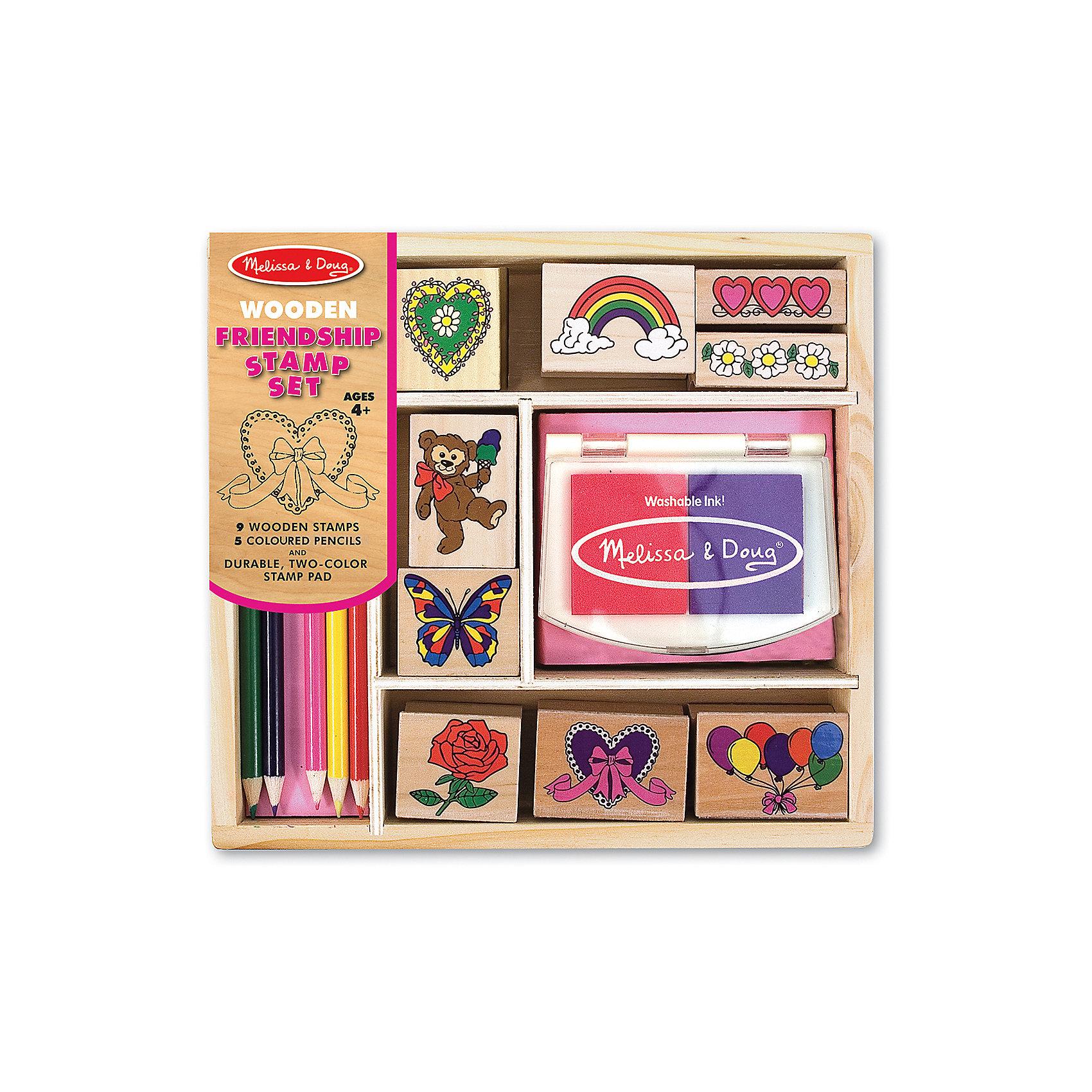 Набор печатей ДружбаТакой набор печатей - это отличный вариант подарка ребенку, который одновременно и развлечет малыша, и позволит ему развивать важные навыки. Игра с печатями способствует развитию у малышей мелкой моторики, цветовосприятия, художественного вкуса, внимания и воображения. <br>В набор входит нетоксичная штемпельная подушечка, восемь печатей с разными картинками, которые обязательно понравятся девочкам. Также в наборе есть цветные карандаши. Набор отличается удобной упаковкой, простотой использования и отличным качеством исполнения. <br><br>Дополнительная информация:<br><br>комплектация: карандаши пять цветов, штемпельная подушка, восемь печатей;<br>упаковка: деревянный ящик;<br>возраст: от четырех лет.<br><br>Набор печатей «Дружба» от бренда Melissa&amp;Doug можно купить в нашем магазине.<br><br>Ширина мм: 220<br>Глубина мм: 40<br>Высота мм: 200<br>Вес г: 499<br>Возраст от месяцев: 48<br>Возраст до месяцев: 192<br>Пол: Унисекс<br>Возраст: Детский<br>SKU: 4993625