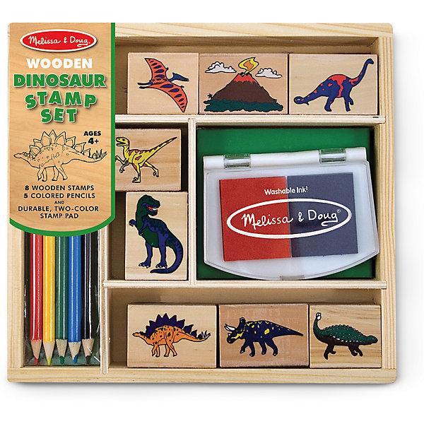 Набор печатей ДинозаврыДетские печати и штампы<br>Думаете, как порадовать ребенка? Такой набор печатей - это отличный вариант подарка ребенку, который одновременно и развлечет малыша, и позволит ему развивать важные навыки. Игра с печатями способствует развитию у малышей мелкой моторики, цветовосприятия, художественного вкуса, внимания и воображения. <br>В набор входит нетоксичная штемпельная подушечка, восемь печатей с разными динозаврами. Также в наборе есть цветные карандаши. Набор отличается удобной упаковкой, простотой использования и отличным качеством исполнения. <br><br>Дополнительная информация:<br><br>комплектация: карандаши пять цветов, штемпельная подушка, восемь печатей;<br>упаковка: деревянный ящик;<br>возраст: от четырех лет.<br><br>Набор печатей Динозавры от бренда Melissa&amp;Doug можно купить в нашем магазине.<br><br>Ширина мм: 220<br>Глубина мм: 40<br>Высота мм: 210<br>Вес г: 499<br>Возраст от месяцев: 48<br>Возраст до месяцев: 108<br>Пол: Унисекс<br>Возраст: Детский<br>SKU: 4993626