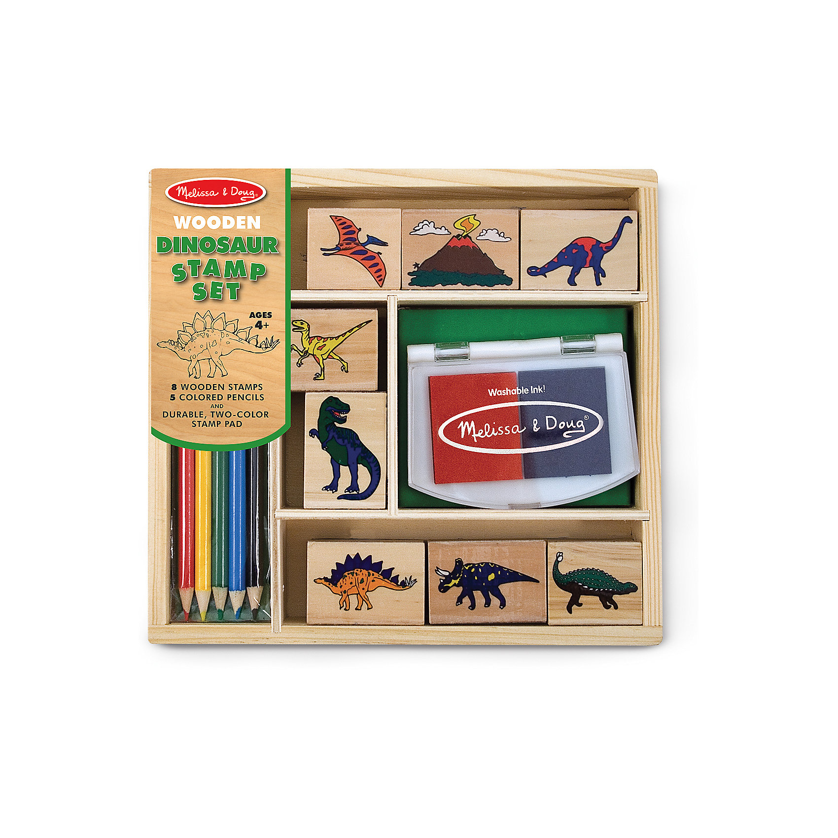 Набор печатей ДинозаврыРисование<br>Думаете, как порадовать ребенка? Такой набор печатей - это отличный вариант подарка ребенку, который одновременно и развлечет малыша, и позволит ему развивать важные навыки. Игра с печатями способствует развитию у малышей мелкой моторики, цветовосприятия, художественного вкуса, внимания и воображения. <br>В набор входит нетоксичная штемпельная подушечка, восемь печатей с разными динозаврами. Также в наборе есть цветные карандаши. Набор отличается удобной упаковкой, простотой использования и отличным качеством исполнения. <br><br>Дополнительная информация:<br><br>комплектация: карандаши пять цветов, штемпельная подушка, восемь печатей;<br>упаковка: деревянный ящик;<br>возраст: от четырех лет.<br><br>Набор печатей Динозавры от бренда Melissa&amp;Doug можно купить в нашем магазине.<br><br>Ширина мм: 220<br>Глубина мм: 40<br>Высота мм: 210<br>Вес г: 499<br>Возраст от месяцев: 48<br>Возраст до месяцев: 108<br>Пол: Унисекс<br>Возраст: Детский<br>SKU: 4993626