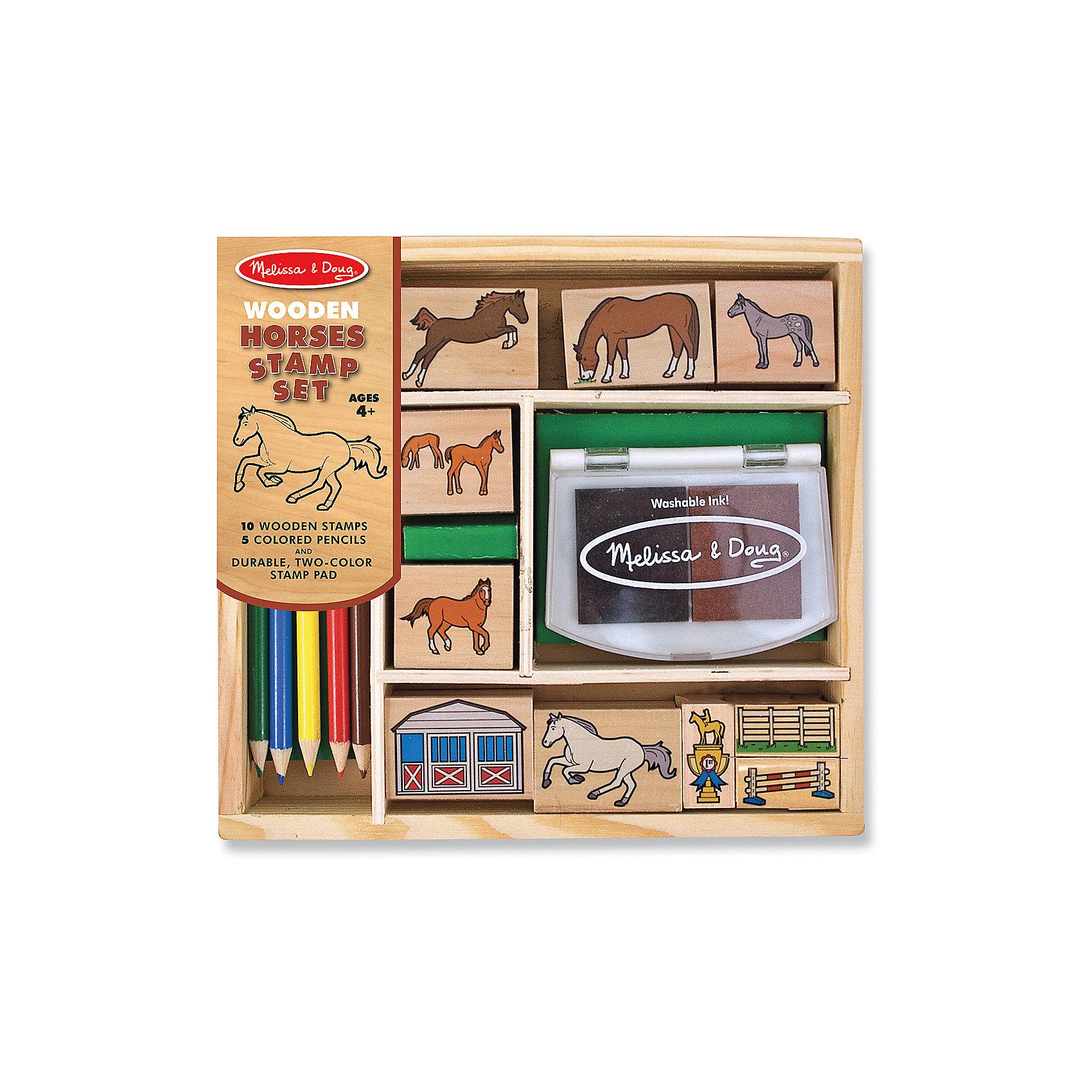Набор печатей ЛошадиТакой набор печатей - это отличный вариант подарка ребенку, который одновременно и развлечет малыша, и позволит ему развивать важные навыки. Игра с печатями способствует развитию у малышей мелкой моторики, цветовосприятия, художественного вкуса, внимания и воображения. <br>В набор входит нетоксичная штемпельная подушечка, десять печатей с разными картинками - они особенно понравятся любителям лошадей. Также в наборе есть цветные карандаши. Набор отличается удобной упаковкой, простотой использования и отличным качеством исполнения. <br><br>Дополнительная информация:<br><br>комплектация: карандаши пять цветов, штемпельная подушка, 10 печатей;<br>упаковка: деревянный ящик.<br><br>Набор печатей Лошади от бренда Melissa&amp;Doug можно купить в нашем магазине.<br><br>Ширина мм: 220<br>Глубина мм: 40<br>Высота мм: 200<br>Вес г: 612<br>Возраст от месяцев: 48<br>Возраст до месяцев: 192<br>Пол: Унисекс<br>Возраст: Детский<br>SKU: 4993632