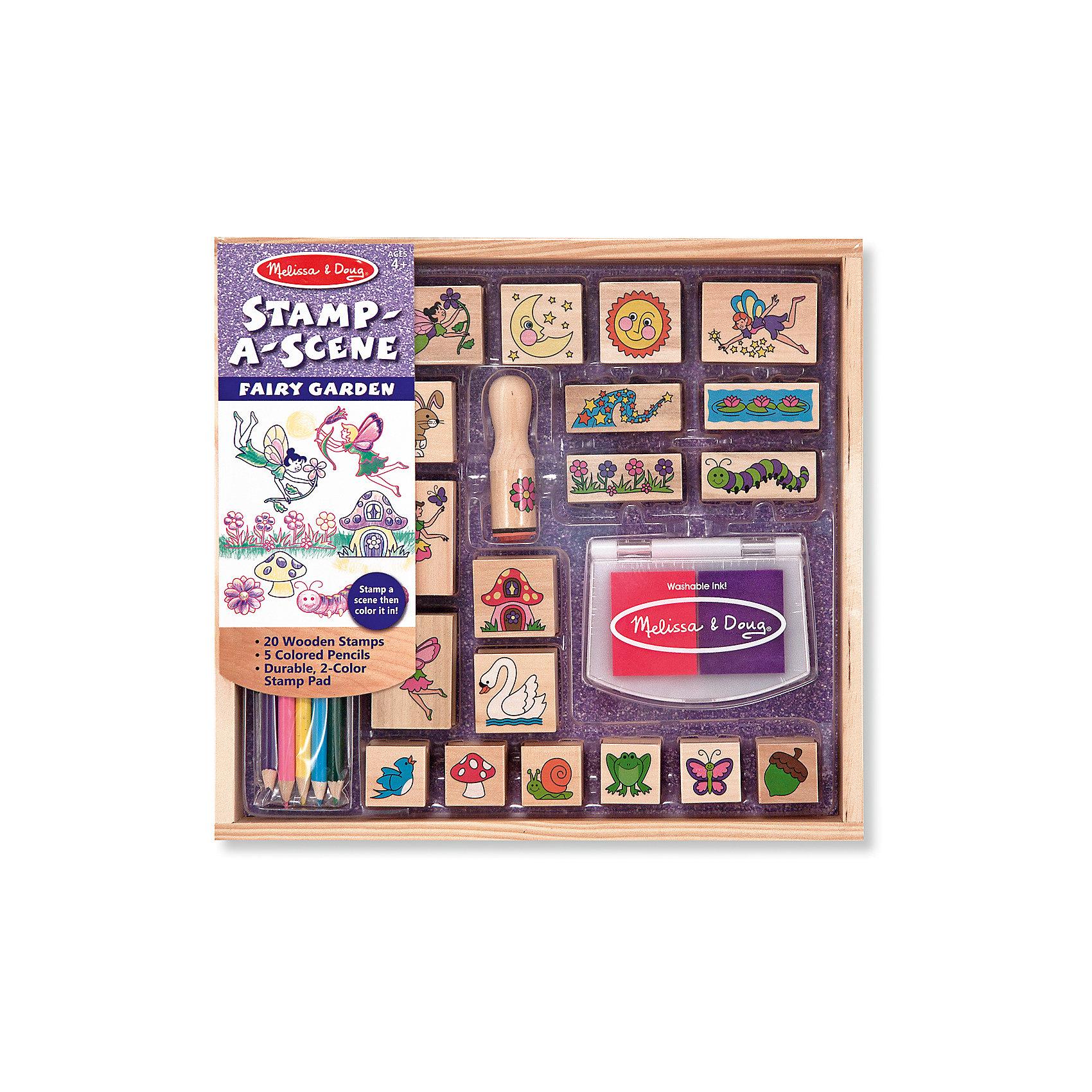 Набор печатей Сад для ФейТакой набор печатей - это отличный вариант подарка ребенку, который одновременно и развлечет малыша, и позволит ему развивать важные навыки. Игра с печатями способствует развитию у малышей мелкой моторики, цветовосприятия, художественного вкуса, внимания и воображения. <br>В набор входит нетоксичная штемпельная подушечка, двадцать печатей с разными картинками - они особенно понравятся любителям фей. Также в наборе есть цветные карандаши. Набор отличается удобной упаковкой, простотой использования и отличным качеством исполнения. <br><br>Дополнительная информация:<br><br>комплектация: карандаши пять цветов, штемпельная подушка, 20 печатей;<br>упаковка: деревянный ящик.<br><br>Набор печатей Сад для Фей от бренда Melissa&amp;Doug можно купить в нашем магазине.<br><br>Ширина мм: 290<br>Глубина мм: 40<br>Высота мм: 270<br>Вес г: 817<br>Возраст от месяцев: 48<br>Возраст до месяцев: 108<br>Пол: Женский<br>Возраст: Детский<br>SKU: 4993634
