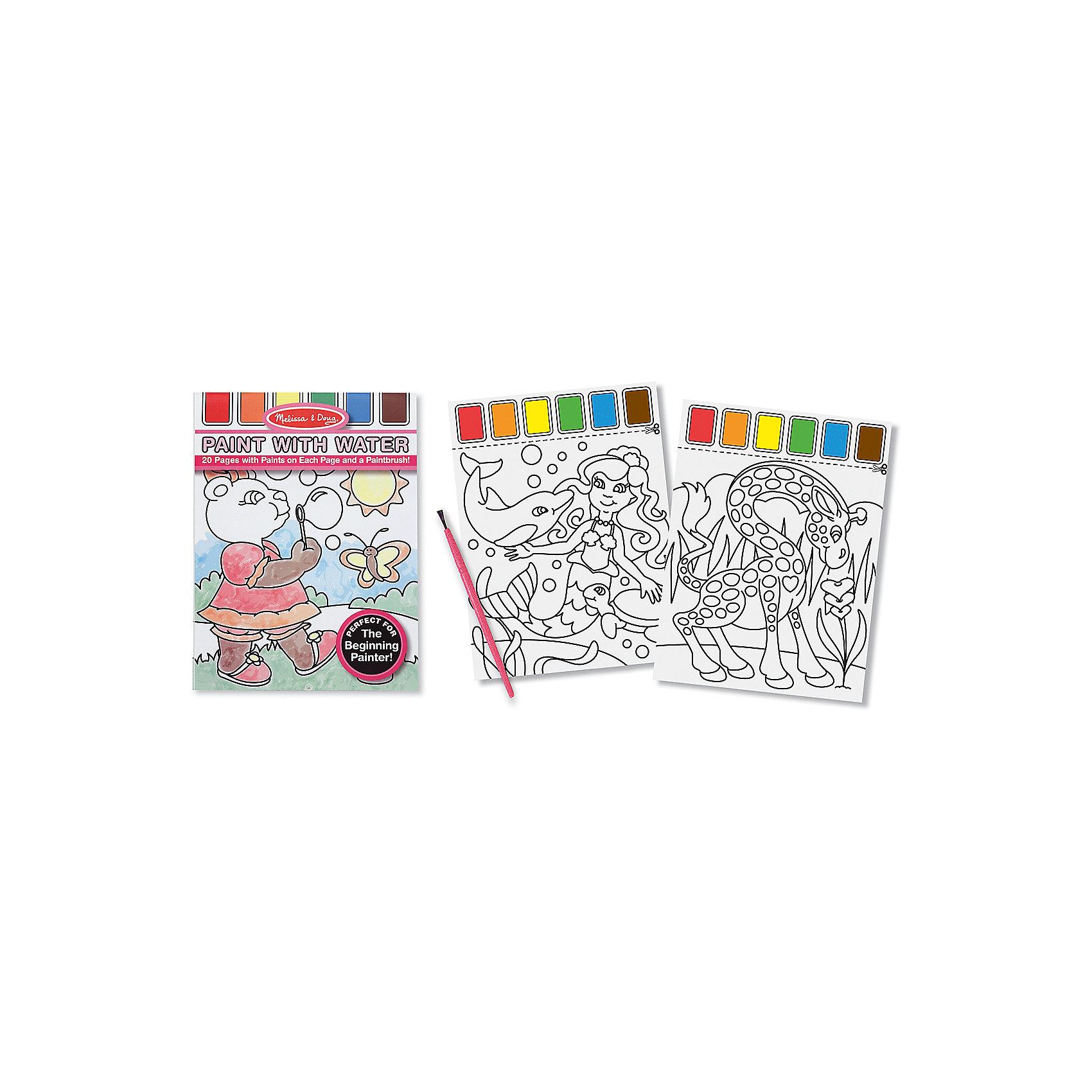 Набор Рисуем водой (розовый)Рисование<br>Думаете, как порадовать ребенка? Такой набор для рисования водой - это отличный вариант подарка ребенку, который одновременно и развлечет малыша, и позволит ему развивать важные навыки. Такой вариант раскрашивания способствует развитию у малышей мелкой моторики, цветовосприятия, художественного вкуса, внимания и воображения. <br>Набор состоит из черно-белых рисунков, по которым достаточно провести мокрой кистью, чтобы они стали цветными. Но делать это нужно аккуратно. Набор отличается удобной упаковкой, простотой использования и отличным качеством исполнения. <br><br>Дополнительная информация:<br><br>комплектация: 20 страниц, кисточка;<br>размер: 290 х 210 х 10 мм;<br>материал: картон.<br><br>Набор Рисуем водой (розовый) от бренда Melissa&amp;Doug можно купить в нашем магазине.<br><br>Ширина мм: 210<br>Глубина мм: 10<br>Высота мм: 290<br>Вес г: 204<br>Возраст от месяцев: 36<br>Возраст до месяцев: 48<br>Пол: Женский<br>Возраст: Детский<br>SKU: 4993637