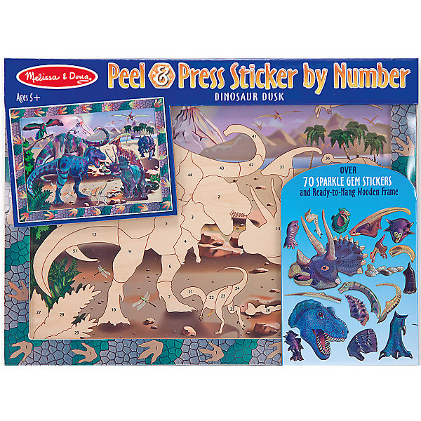 Мозаика ДинозаврыМозаика детская<br>Думаете, как порадовать ребенка? Такая мозаика - это отличный вариант подарка ребенку, который одновременно и развлечет малыша, и позволит ему развивать важные навыки. Это способствует развитию у малышей мелкой моторики, цветовосприятия, художественного вкуса, внимания и воображения. <br>Набор состоит из фоновой картинки, которую нужно заполнить наклейками с соответствующими номерами, чтобы получилось изображение. Его потом можно повесить на стену! Особенно понравится любителям динозавров.Набор отличается удобной упаковкой, простотой использования и отличным качеством исполнения. <br><br>Дополнительная информация:<br><br>комплектация: фоновая картинка, наклейки;<br>размер: 356 х 305 х 25 мм.<br><br>Мозаику Динозавры от бренда Melissa&amp;Doug можно купить в нашем магазине.<br>Ширина мм: 400; Глубина мм: 20; Высота мм: 270; Вес г: 612; Возраст от месяцев: 60; Возраст до месяцев: 72; Пол: Унисекс; Возраст: Детский; SKU: 4993638;