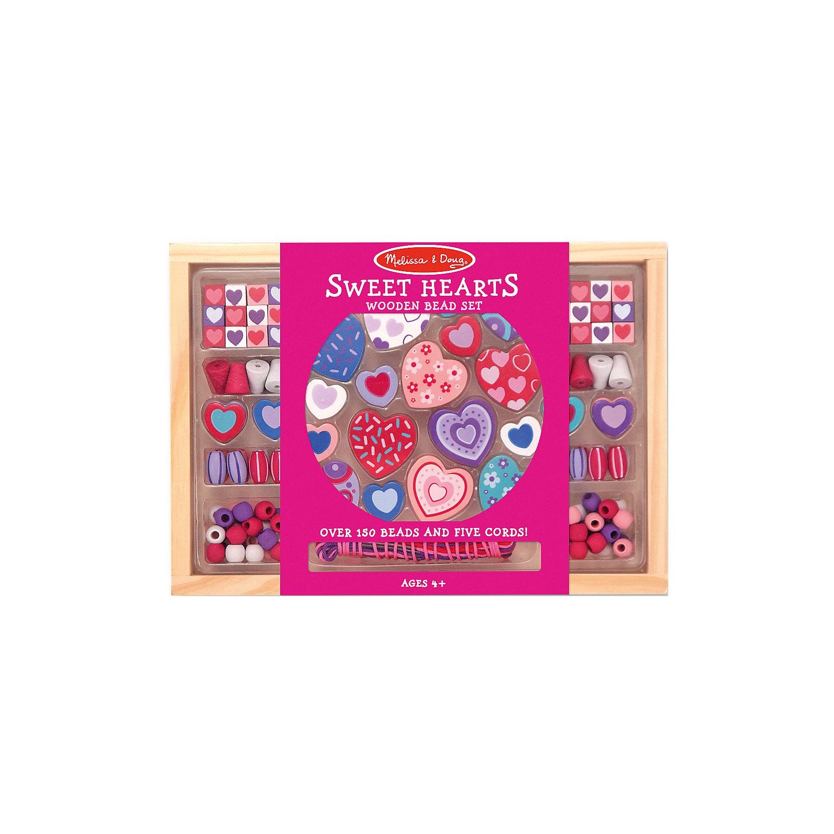 Набор бусин Сердечки, розовыйРукоделие<br>Отличный вариант подарка для девочки - этот набор, из которого можно самому сделать красивые украшения! Для этого нужно просто подобрать бусины и нанизать их на шнурки, идущие в комплекте. Получаются очень красивые бусы или браслеты, которые можно носить!<br>Делая украшение, ребенок будет развивать воображение и мелкую моторику, также дети учатся подбирать цвета и развивают художественные навыки. Этот набор произведен из качественных и безопасных для детей материалов.<br><br>Дополнительная информация:<br><br>материал: дерево;<br>цвет: разноцветный;<br>комплектация: 5 шнурков, 100 разных бусин.<br><br>Набор бусин Сердечки, розовый от бренда Melissa&amp;Doug можно купить в нашем магазине.<br><br>Ширина мм: 250<br>Глубина мм: 30<br>Высота мм: 180<br>Вес г: 295<br>Возраст от месяцев: 48<br>Возраст до месяцев: 120<br>Пол: Женский<br>Возраст: Детский<br>SKU: 4993652