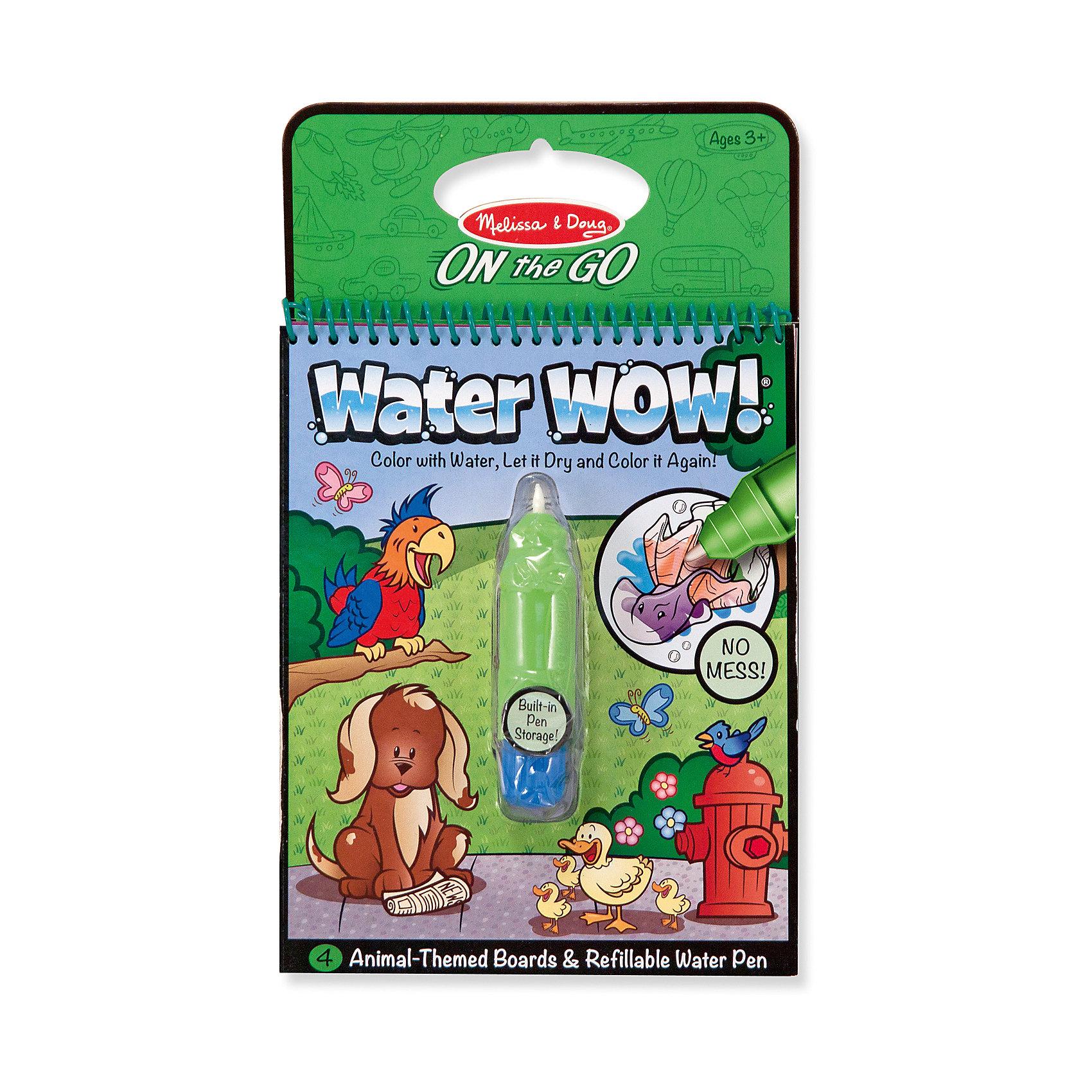 Рисуем водой ЖивотныеРисование<br>Думаете, как порадовать ребенка? Такой набор для рисования водой - это отличный вариант подарка ребенку, который одновременно и развлечет малыша, и позволит ему развивать важные навыки. Такой вариант раскрашивания способствует развитию у малышей мелкой моторики, цветовосприятия, художественного вкуса, внимания и воображения. <br>Набор состоит из черно-белых рисунков, по которым достаточно провести мокрой кистью, чтобы они стали цветными. Но делать это нужно аккуратно. Набор отличается удобной упаковкой, простотой использования и отличным качеством исполнения. <br><br>Дополнительная информация:<br><br>комплектация: ручка с водой, книжка;<br>размер: 250 х 150 х 30 мм;<br>текст на английском.<br><br>Издание Рисуем водой Животные от бренда Melissa&amp;Doug можно купить в нашем магазине.<br><br>Ширина мм: 150<br>Глубина мм: 30<br>Высота мм: 250<br>Вес г: 181<br>Возраст от месяцев: 36<br>Возраст до месяцев: 60<br>Пол: Унисекс<br>Возраст: Детский<br>SKU: 4993679