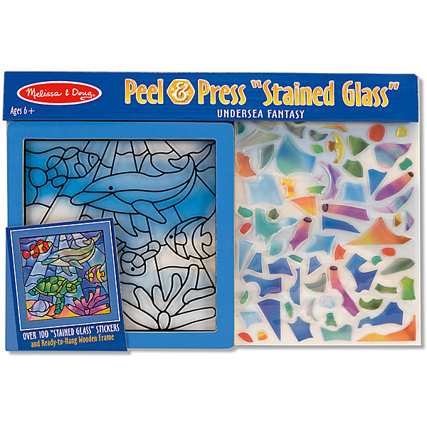 Цветное стекло Подводные фантазииДетские витражи<br>Думаете, как порадовать ребенка? Такая витражная мозаика - это отличный вариант подарка ребенку, который одновременно и развлечет малыша, и позволит ему развивать важные навыки. Это способствует развитию у малышей мелкой моторики, цветовосприятия, художественного вкуса, внимания и воображения. <br>Набор состоит из фоновой картинки, которую нужно заполнить прозрачными деталями, чтобы получилось изображение. Его потом можно повесить на окно! Особенно понравится любителям моря. Набор отличается удобной упаковкой, простотой использования и отличным качеством исполнения. <br><br>Дополнительная информация:<br><br>комплектация: фоновая картинка, детали;<br>размер: 250 х 370 х 10 мм.<br><br>Цветное стекло Подводные фантазии от бренда Melissa&amp;Doug можно купить в нашем магазине.<br>Ширина мм: 370; Глубина мм: 10; Высота мм: 250; Вес г: 250; Возраст от месяцев: 72; Возраст до месяцев: 120; Пол: Унисекс; Возраст: Детский; SKU: 4993683;