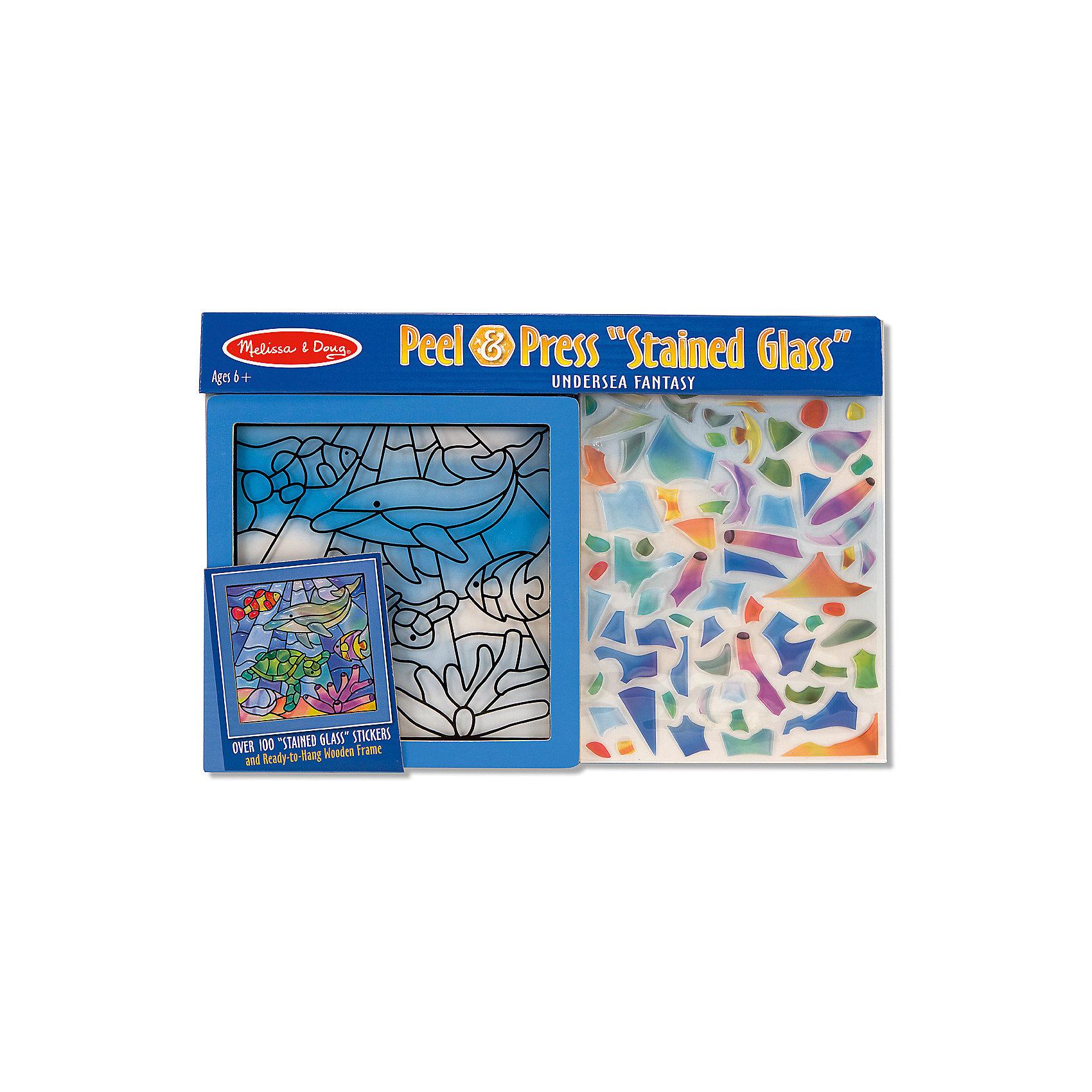 Цветное стекло Подводные фантазииВитражи<br>Думаете, как порадовать ребенка? Такая витражная мозаика - это отличный вариант подарка ребенку, который одновременно и развлечет малыша, и позволит ему развивать важные навыки. Это способствует развитию у малышей мелкой моторики, цветовосприятия, художественного вкуса, внимания и воображения. <br>Набор состоит из фоновой картинки, которую нужно заполнить прозрачными деталями, чтобы получилось изображение. Его потом можно повесить на окно! Особенно понравится любителям моря. Набор отличается удобной упаковкой, простотой использования и отличным качеством исполнения. <br><br>Дополнительная информация:<br><br>комплектация: фоновая картинка, детали;<br>размер: 250 х 370 х 10 мм.<br><br>Цветное стекло Подводные фантазии от бренда Melissa&amp;Doug можно купить в нашем магазине.<br><br>Ширина мм: 370<br>Глубина мм: 10<br>Высота мм: 250<br>Вес г: 250<br>Возраст от месяцев: 72<br>Возраст до месяцев: 120<br>Пол: Унисекс<br>Возраст: Детский<br>SKU: 4993683