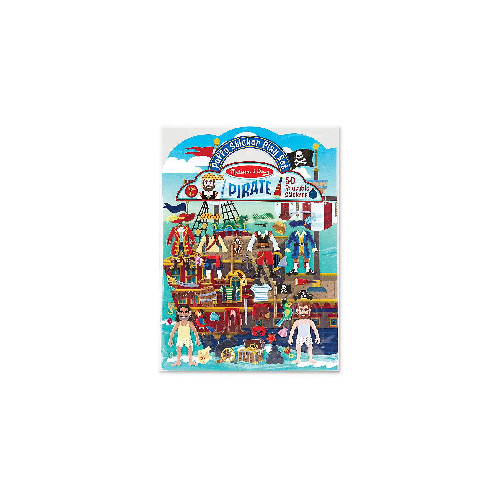 Книжка с многоразовыми наклейками ПиратыКнижки с наклейками<br>Такой набор - это отличный вариант подарка ребенку, который одновременно и развлечет малыша, и позволит ему развивать важные навыки. Это способствует развитию у малышей мелкой моторики, цветовосприятия, художественного вкуса, внимания и воображения. <br>Набор состоит из листов с заготовками, которые можно заполнять: одевать пиратов и создавать соответсвующий антураж с помощью наклеек. Это очень увлекательно! Набор отличается простотой использования и отличным качеством исполнения. <br><br>Дополнительная информация:<br><br>комплектация: 2 листа с фоном, 50 наклеек;<br>материал: бумага.<br><br>Набор стикеров Пираты от бренда Melissa&amp;Doug можно купить в нашем магазине.<br><br>Ширина мм: 220<br>Глубина мм: 10<br>Высота мм: 290<br>Вес г: 91<br>Возраст от месяцев: 48<br>Возраст до месяцев: 84<br>Пол: Мужской<br>Возраст: Детский<br>SKU: 4993700