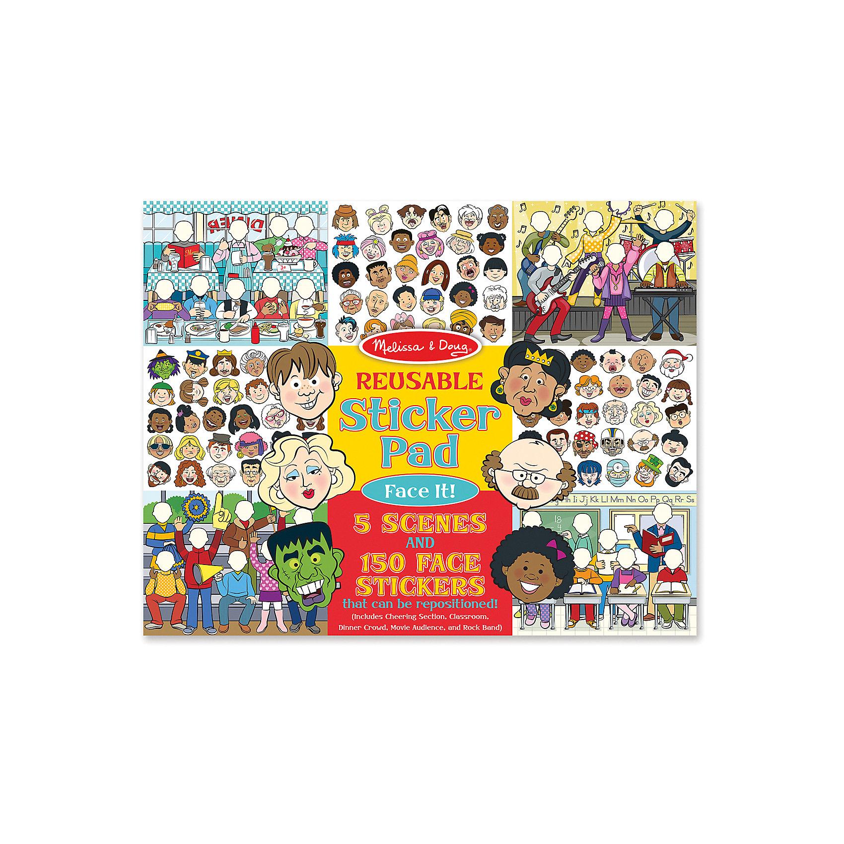 Набор стикеров ЛицаДумаете, как порадовать ребенка? Такой набор - это отличный вариант подарка ребенку, который одновременно и развлечет малыша, и позволит ему развивать важные навыки. Это способствует развитию у малышей мелкой моторики, цветовосприятия, художественного вкуса, внимания и воображения. <br>Набор состоит из листов с заготовками, из которых можно создать портрет с помощью наклеек. Это очень увлекательно! Набор отличается простотой использования и отличным качеством исполнения. <br><br>Дополнительная информация:<br><br>комплектация: пять листов с 150 наклейками;<br>материал: бумага;<br>размер упаковки: 360 х 280 х 10 мм.<br><br>Набор стикеров Лица от бренда Melissa&amp;Doug можно купить в нашем магазине.<br><br>Ширина мм: 360<br>Глубина мм: 10<br>Высота мм: 280<br>Вес г: 386<br>Возраст от месяцев: 48<br>Возраст до месяцев: 84<br>Пол: Унисекс<br>Возраст: Детский<br>SKU: 4993701