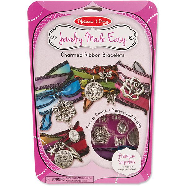 Волшебные браслетыНаборы для создания украшений<br>Отличный вариант подарка для девочки - этот набор, из которого можно самому сделать красивые украшения! Для этого нужно просто подобрать детали и прикрепить их на браслеты, идущие в комплекте. Получаются очень красивые браслеты, которые можно носить!<br>Делая украшение, ребенок будет развивать воображение и мелкую моторику, также дети учатся подбирать цвета и развивают художественные навыки. Этот набор произведен из качественных и безопасных для детей материалов.<br><br>Дополнительная информация:<br><br>цвет: разноцветный;<br>комплектация: четыре браслета, ленты, 10 подвесок из металла, 10 колечек, инструкция.<br><br>Волшебные браслеты от бренда Melissa&amp;Doug можно купить в нашем магазине.<br><br>Ширина мм: 200<br>Глубина мм: 20<br>Высота мм: 300<br>Вес г: 136<br>Возраст от месяцев: 96<br>Возраст до месяцев: 144<br>Пол: Женский<br>Возраст: Детский<br>SKU: 4993718