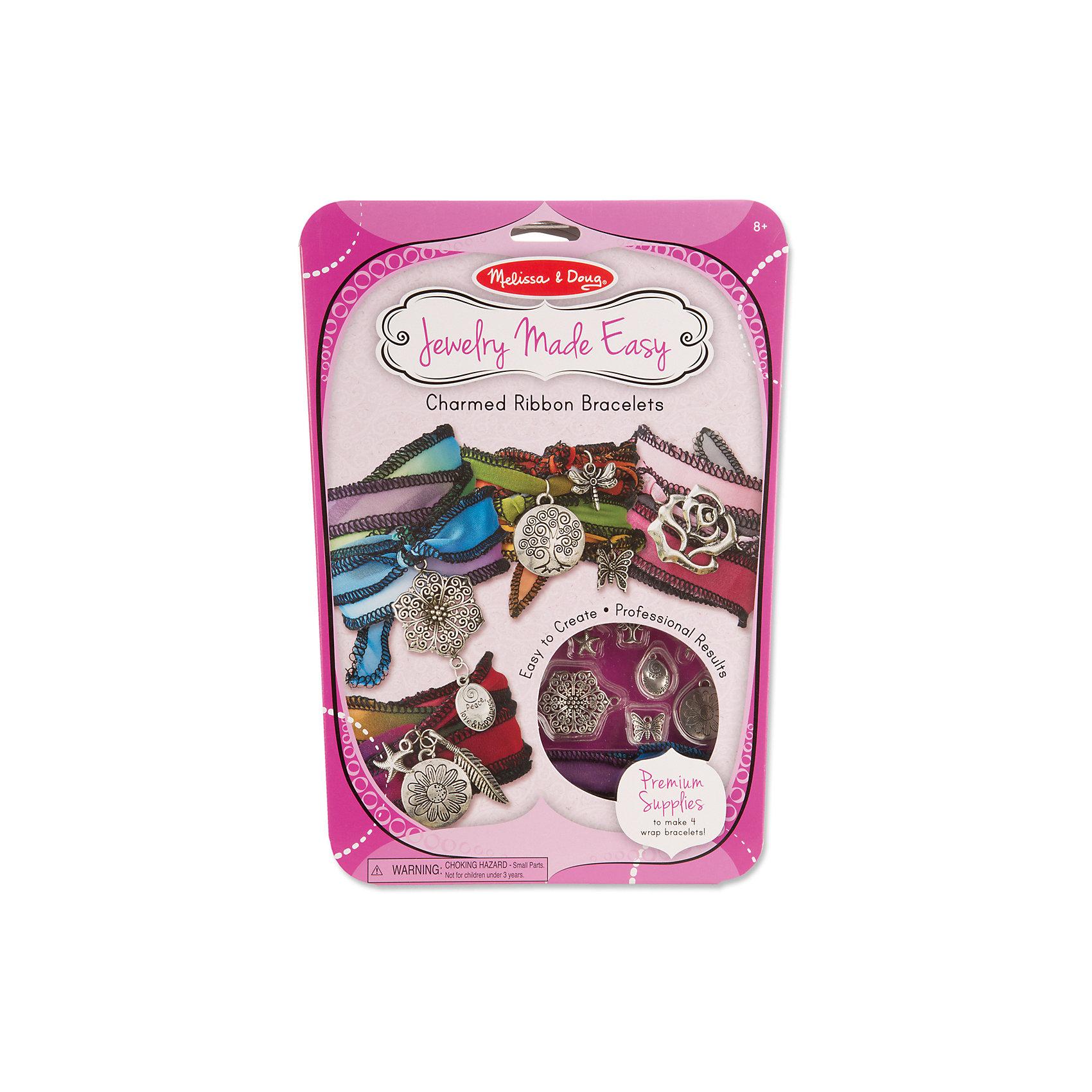 Волшебные браслетыРукоделие<br>Отличный вариант подарка для девочки - этот набор, из которого можно самому сделать красивые украшения! Для этого нужно просто подобрать детали и прикрепить их на браслеты, идущие в комплекте. Получаются очень красивые браслеты, которые можно носить!<br>Делая украшение, ребенок будет развивать воображение и мелкую моторику, также дети учатся подбирать цвета и развивают художественные навыки. Этот набор произведен из качественных и безопасных для детей материалов.<br><br>Дополнительная информация:<br><br>цвет: разноцветный;<br>комплектация: четыре браслета, ленты, 10 подвесок из металла, 10 колечек, инструкция.<br><br>Волшебные браслеты от бренда Melissa&amp;Doug можно купить в нашем магазине.<br><br>Ширина мм: 200<br>Глубина мм: 20<br>Высота мм: 300<br>Вес г: 136<br>Возраст от месяцев: 96<br>Возраст до месяцев: 144<br>Пол: Женский<br>Возраст: Детский<br>SKU: 4993718
