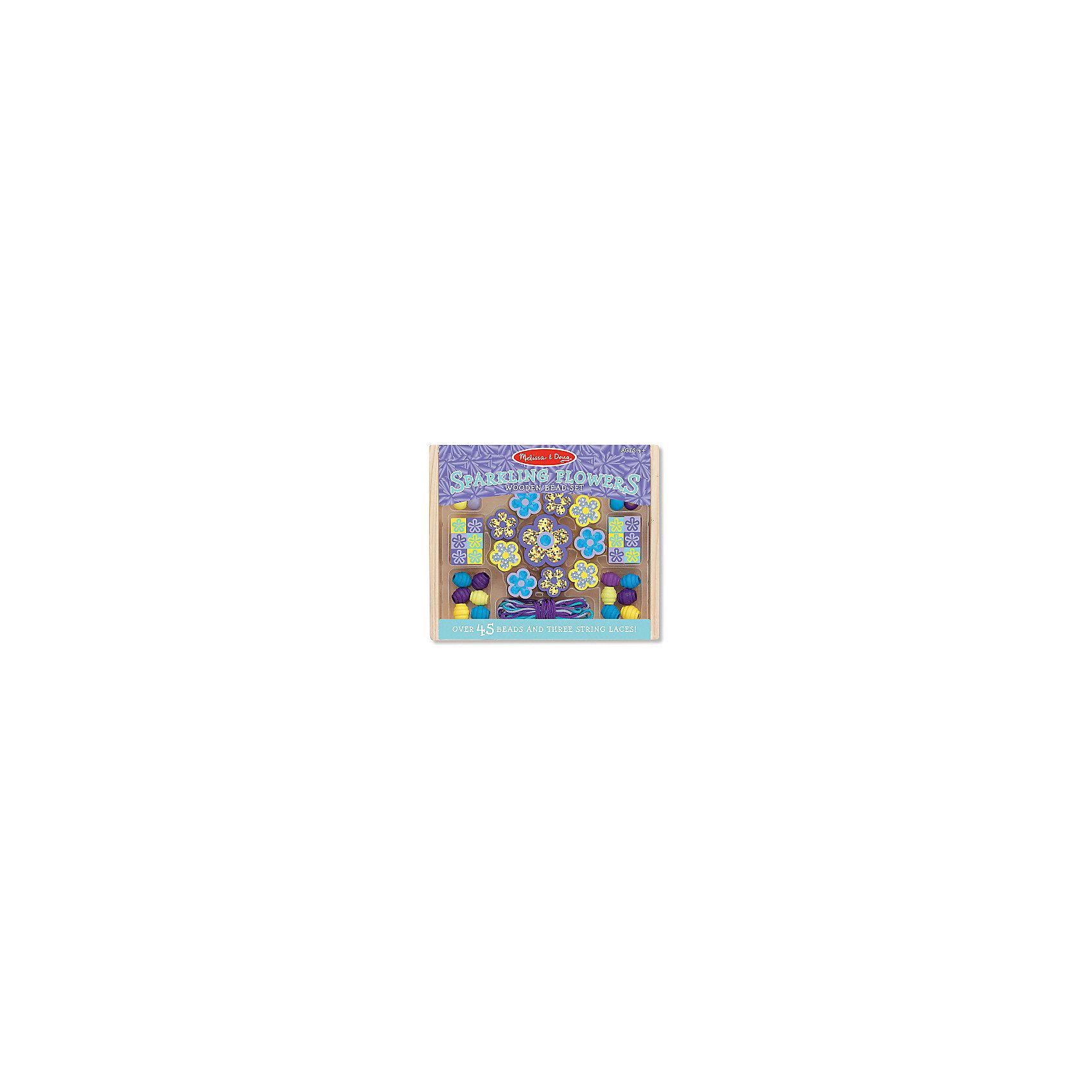 Набор бусин Сияющие цветыРукоделие<br>Для ребенка очень важно творчество - так он развивает свои способности и играет одновременно. Отличный вариант подарка для девочки - этот набор, из которого можно самому сделать красивые украшения! Для этого нужно просто подобрать бусины и нанизать их на шнурки, идущие в комплекте. Получаются очень красивые бусы или браслеты, которые можно носить!<br>Делая украшение, ребенок будет развивать воображение и мелкую моторику, также дети учатся подбирать цвета и развивают художественные навыки. Этот набор произведен из качественных и безопасных для детей материалов.<br><br>Дополнительная информация:<br><br>материал: дерево;<br>цвет: разноцветный;<br>комплектация: 3 шнурка, 45 разных бусин.<br><br>Набор бусин Сияющие цветы от бренда Melissa&amp;Doug можно купить в нашем магазине.<br><br>Ширина мм: 150<br>Глубина мм: 20<br>Высота мм: 130<br>Вес г: 91<br>Возраст от месяцев: 48<br>Возраст до месяцев: 144<br>Пол: Женский<br>Возраст: Детский<br>SKU: 4993721
