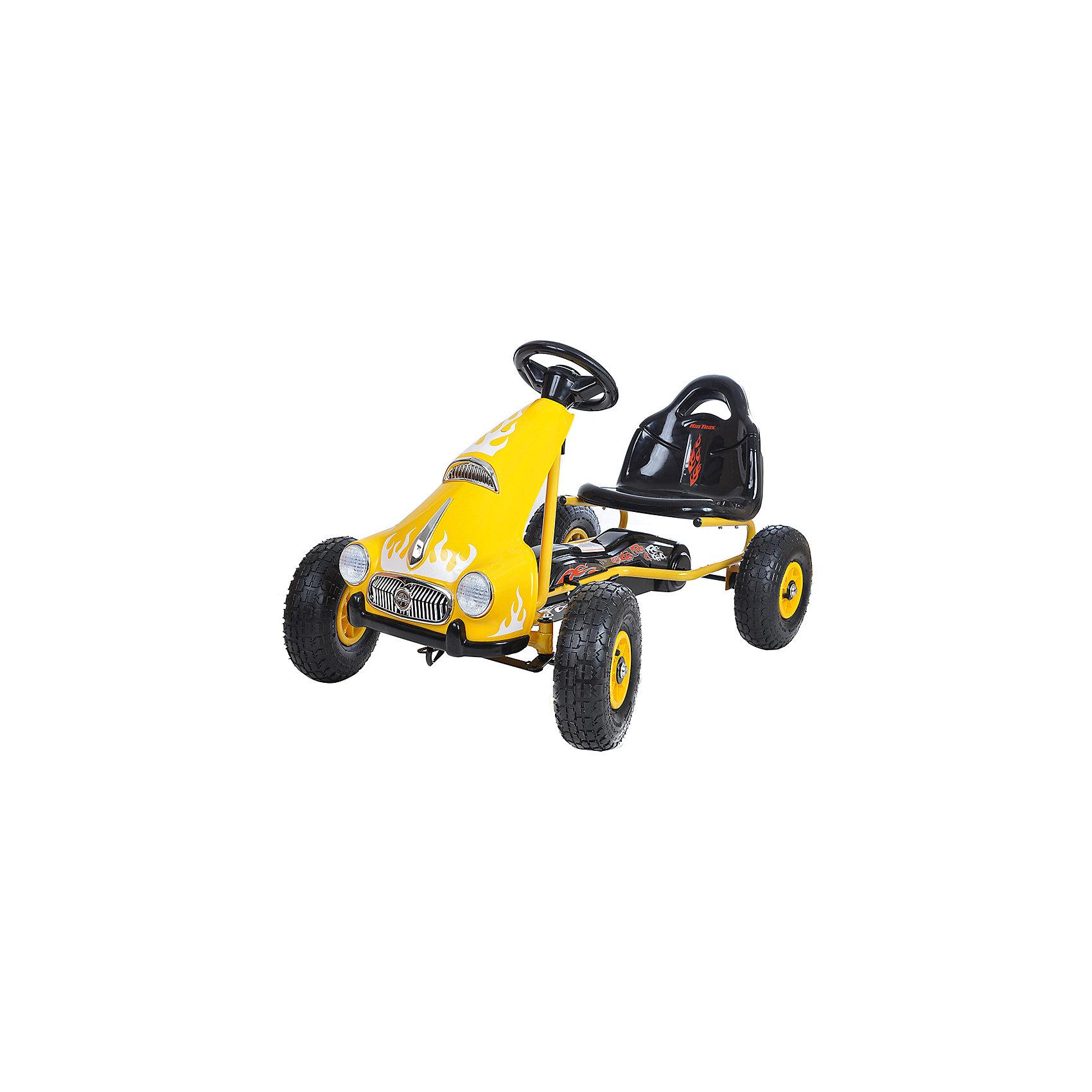 Педальный картинг РЕТРО, желтый, ANHUITECHПедальный картинг РЕТРО, желтый, ANHUITECH – удобство и комфорт для любителей быстрой езды.<br>Машина не скользит и устойчива к резким поворотам, благодаря надувным колесам. Это делает ее полностью безопасной для детей. Картинг помогает ребенку получить навыки вождения и развивает внимательность. В движение приводится с помощью педалей, а ручной рычаг тормозит картинг. Рассчитана машина на одно посадочное место. Сидение можно отрегулировать. <br><br>Дополнительная информация: <br><br>- размер: 101х62х62 см;<br>- размер посадочного места: 35х20х35 см.<br>- возраст: от 3 до 8 лет <br>- материал: пластик, металл<br>- цвет: желтый<br><br>Педальный картинг РЕТРО, желтый, ANHUITECH можно купить в нашем интернет магазине.<br><br>Ширина мм: 1010<br>Глубина мм: 620<br>Высота мм: 620<br>Вес г: 11500<br>Возраст от месяцев: 36<br>Возраст до месяцев: 96<br>Пол: Унисекс<br>Возраст: Детский<br>SKU: 4995149