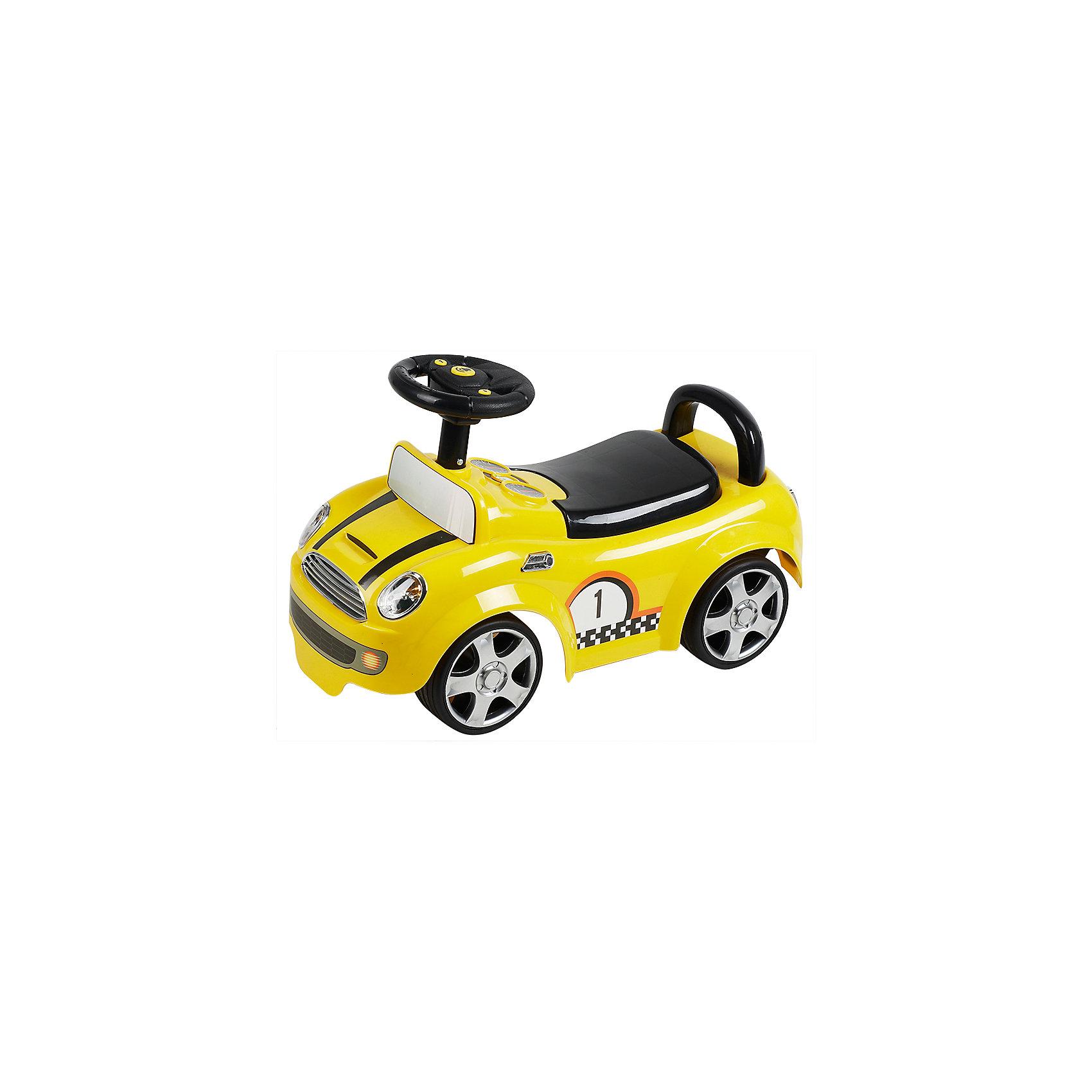 Каталка Гонки, желтая, NINGBO PRINCEКаталка Гонки, желтая, NINGBO PRINCE - осчастливьте своего ребенка безопасной детской машиной.<br>Благодаря тому, что каталка имеет устойчивую конструкцию и колеса с поворотом на 90 градусов, она полностью безопасна для ребенка, даже если он любит быструю езду.  На руле есть кнопка для звукового сигнала. Ход машины очень плавный, может ездить вперед и назад. Есть вместительный багажник для игрушек или вещей, под сиденьем.<br><br>Дополнительная информация:<br><br>- размер: 64*31*25 см<br>- вес: 3,40 кг<br>- возраст: от 1 до 3 лет<br>- максимальный вес: до 30 кг<br>- цвет: желтый<br><br>Каталку Гонки, желтую, NINGBO PRINCE  можно купить в нашем интернет магазине.<br><br>Ширина мм: 900<br>Глубина мм: 900<br>Высота мм: 500<br>Вес г: 3400<br>Возраст от месяцев: 12<br>Возраст до месяцев: 36<br>Пол: Унисекс<br>Возраст: Детский<br>SKU: 4995153