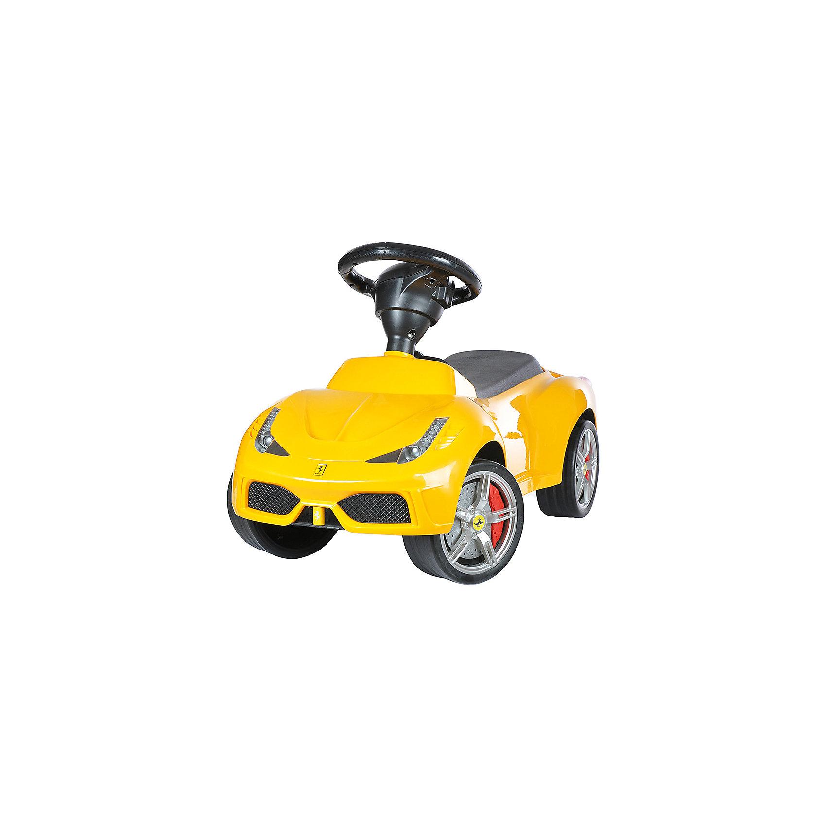 Каталка Ferrari 458 Speciale A, желтый, RASTARКаталка Ferrari 458 Speciale A, желтый, RASTAR - осчастливьте своего ребенка безопасной детской машиной.<br>Благодаря тому, что каталка имеет устойчивую конструкцию и колеса с поворотом на 90 градусов, она полностью безопасна для ребенка, даже если он любит быструю езду.  На руле есть кнопка для звукового сигнала. Ход машины очень плавный, может ездить вперед и назад. Есть вместительный багажник для игрушек или вещей, под сиденьем. Машина сделана под марку «Ferrari» с сидениями из искусственной кожи.<br><br>Дополнительная информация:<br><br>- вес: 3,8 кг<br>- возраст: от 1 до 3 лет<br>- максимальный вес: до 30 кг<br>- цвет: желтый<br><br>Каталку Ferrari 458 Speciale A, желтый, RASTAR можно купить в нашем интернет магазине.<br><br>Ширина мм: 650<br>Глубина мм: 350<br>Высота мм: 300<br>Вес г: 3800<br>Возраст от месяцев: 12<br>Возраст до месяцев: 36<br>Пол: Унисекс<br>Возраст: Детский<br>SKU: 4995158