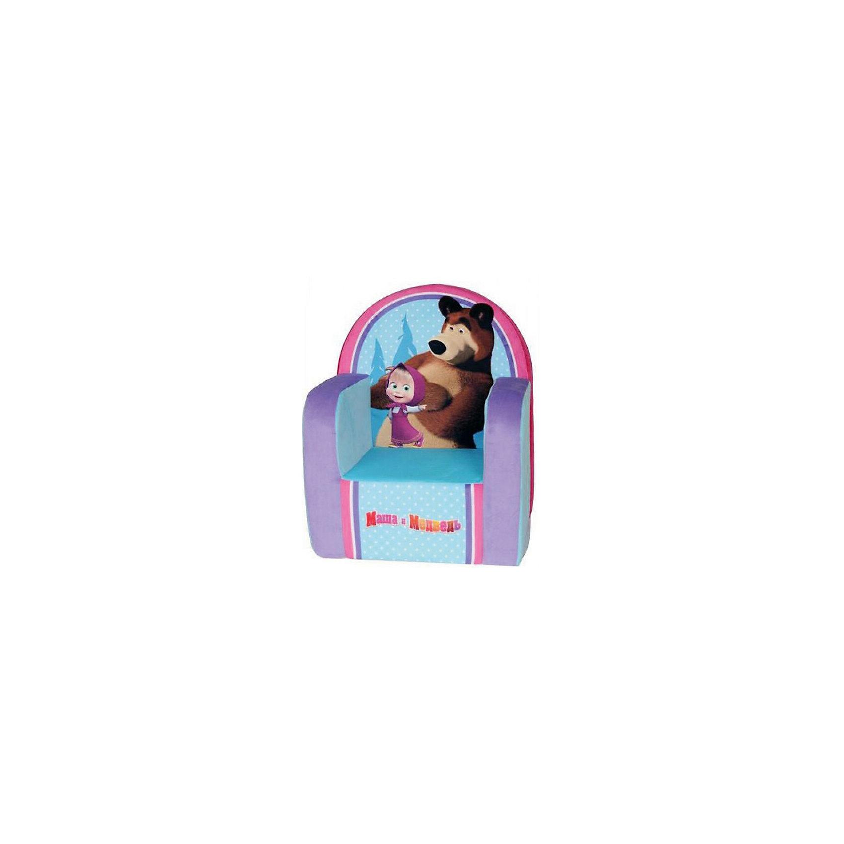 Мягкое кресло с чехлом Маша и Медведь с музыкальным элементом, СмолТойс, голубой  тумбочка без ящиков