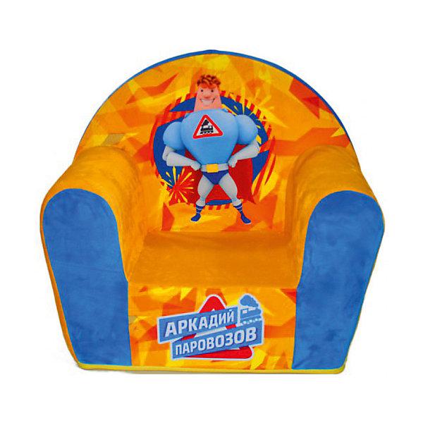 Мягкое кресло Паровозов в50, СмолТойс, желтыйДетские мягкие кресла<br>Думаете, чем порадовать ребенка? Подарите это кресло! Детям очень важно иметь свои вещи, это касается не только посуды и игрушек, но и мебели. Именно поэтому такое кресло станет действительно желанным подарком для малыша. Тем более, что на нем есть изображение любимого мультяшного героя современных детей - Аркадия Паровозова.<br>Обивка кресла - мягкая и приятная на ощупь. Внутри предмет заполнен мягким пенополиуретаном! Кресло легкое, но устойчивое. Детям будет интересно и удобно в нем сидеть или играть. Такое яркое и симпатичное кресло оживит и украсит комнату ребенка!<br><br>Дополнительная информация:<br><br>цвет: разноцветный;<br>материал: трикотаж, пенополиуретан, дерево;<br>декорировано изображением Аркадия Паровозова;<br>размер: 500 х 500 х 330 мм.<br><br>Мягкое кресло Паровозов в50 можно купить в нашем магазине.<br><br>Ширина мм: 34<br>Глубина мм: 53<br>Высота мм: 50<br>Вес г: 1100<br>Возраст от месяцев: 36<br>Возраст до месяцев: 1188<br>Пол: Унисекс<br>Возраст: Детский<br>SKU: 4996601