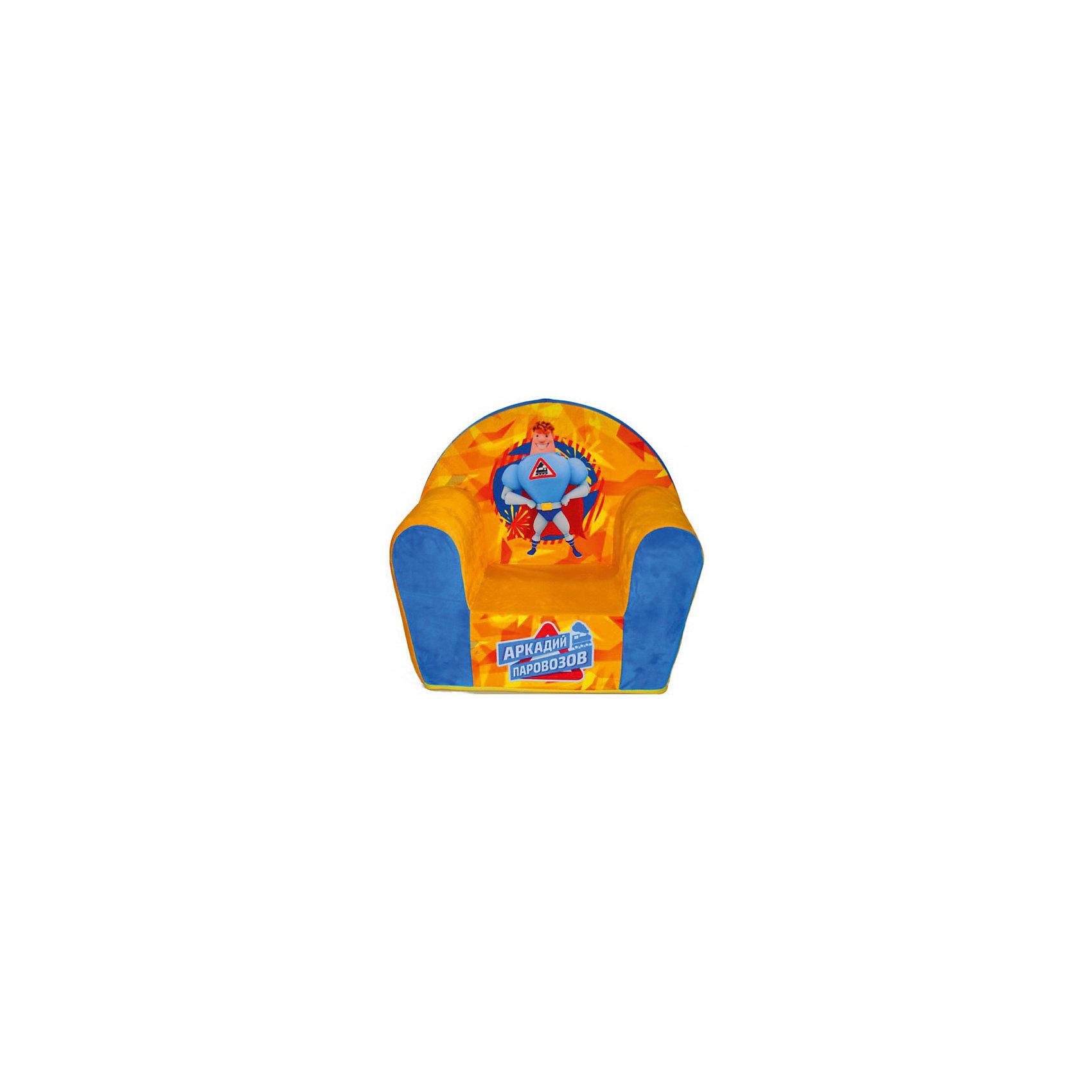 Мягкое кресло Паровозов в50, СмолТойс, желтыйМебель<br>Думаете, чем порадовать ребенка? Подарите это кресло! Детям очень важно иметь свои вещи, это касается не только посуды и игрушек, но и мебели. Именно поэтому такое кресло станет действительно желанным подарком для малыша. Тем более, что на нем есть изображение любимого мультяшного героя современных детей - Аркадия Паровозова.<br>Обивка кресла - мягкая и приятная на ощупь. Внутри предмет заполнен мягким пенополиуретаном! Кресло легкое, но устойчивое. Детям будет интересно и удобно в нем сидеть или играть. Такое яркое и симпатичное кресло оживит и украсит комнату ребенка!<br><br>Дополнительная информация:<br><br>цвет: разноцветный;<br>материал: трикотаж, пенополиуретан, дерево;<br>декорировано изображением Аркадия Паровозова;<br>размер: 500 х 500 х 330 мм.<br><br>Мягкое кресло Паровозов в50 можно купить в нашем магазине.<br><br>Ширина мм: 34<br>Глубина мм: 53<br>Высота мм: 50<br>Вес г: 1100<br>Возраст от месяцев: 36<br>Возраст до месяцев: 1188<br>Пол: Унисекс<br>Возраст: Детский<br>SKU: 4996601