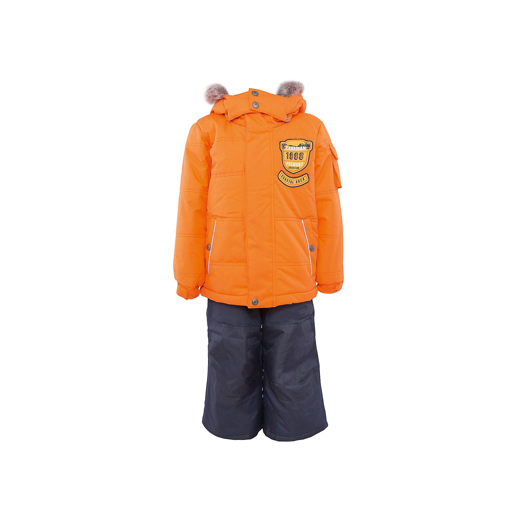 Комплект: куртка и брюки для мальчика PremontКомплект: куртка и брюки для мальчика от известного бренда Premont.<br>Авалон считается мифическим островом, но, тем не менее, он действительно существует и располагается на Юго-Востоке Канады. Глубокий и насыщенный цвет парки, как будто переносит нас к извилистым берегам полуострова, изобилующего заливами и гаванями.<br>Брюки до 6 лет идут с высокой грудкой, после 6 лет - с отстегивающейся спинкой.<br>Состав:<br>Ткань верха: мембрана 5000мм/5000г/м2/24h, Taslan <br>Подклад: Polarfleece (тело, капюшон, манжеты), Taffeta (брюки, рукава, снежная юбка) Утеплитель: Tech-polyfill (куртка 280г, брюки 180г)<br><br>Ширина мм: 356<br>Глубина мм: 10<br>Высота мм: 245<br>Вес г: 519<br>Цвет: оранжевый<br>Возраст от месяцев: 156<br>Возраст до месяцев: 168<br>Пол: Мужской<br>Возраст: Детский<br>Размер: 164,98,92,100,104,110,116,120,122,128,140,152<br>SKU: 4996843