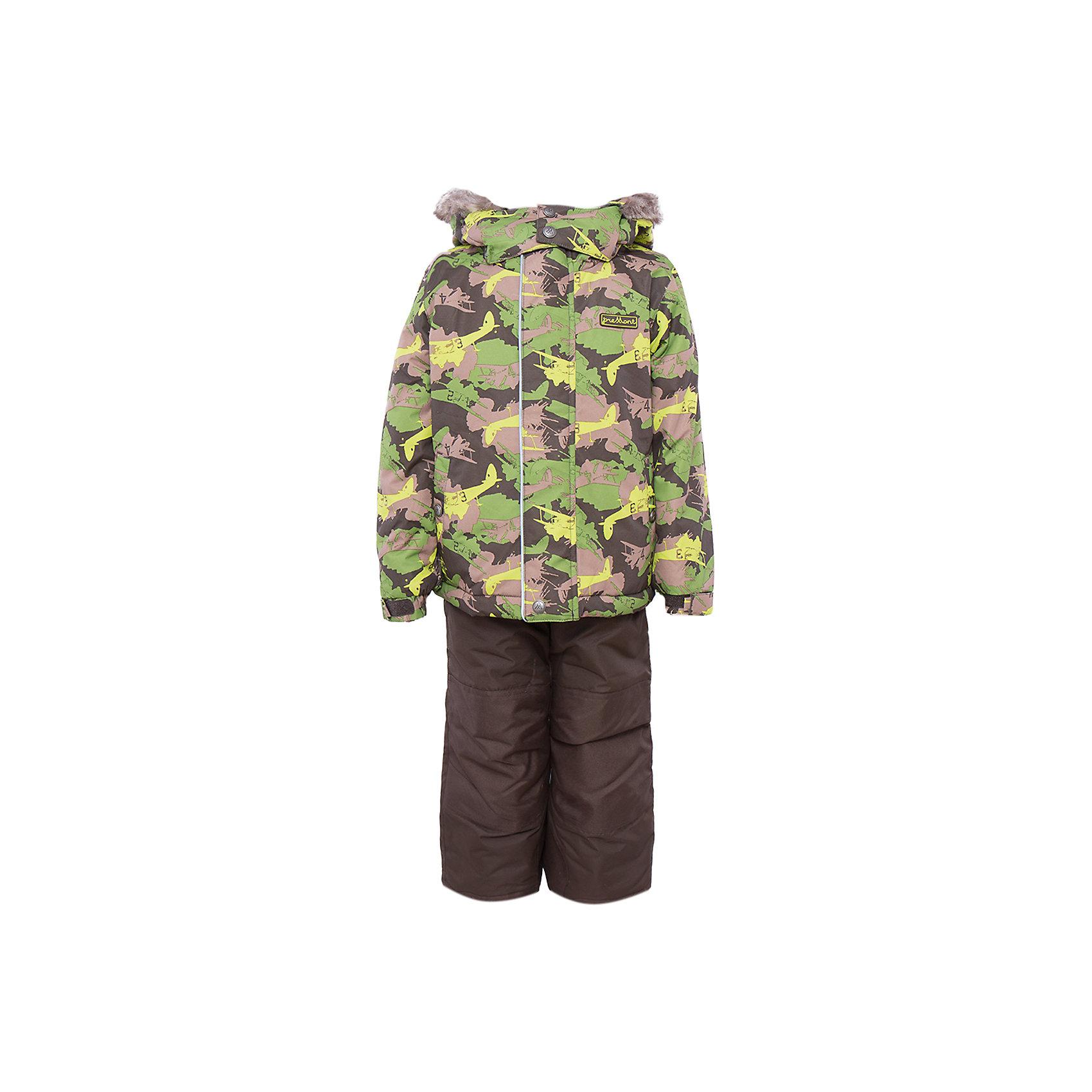 Комплект: куртка и брюки для мальчика PremontВерхняя одежда<br>Комплект: куртка и брюки для мальчика от известного бренда Premont.<br>Все мальчишки любят играть в войну, представлять себя на полях сражения, и дизайнеры компании Premont не могли не учесть этот психологический аспект. Принт «Легенда Гудзона» подойдет для маленьких и отважных героев, которые хотят статьнастоящими защитниками и бойцами.<br>Брюки до 6 лет идут с высокой грудкой, после 6 лет - с отстегивающейся спинкой.<br>Состав:<br>Ткань верха: мембрана 5000мм/5000г/м2/24h, Taslan<br>Подклад: Polarfleece (тело, капюшон, манжеты), Taffeta (брюки, рукава, снежная юбка) Утеплитель: Tech-polyfill (куртка 280г, брюки 180г)<br><br>Ширина мм: 356<br>Глубина мм: 10<br>Высота мм: 245<br>Вес г: 519<br>Цвет: зеленый<br>Возраст от месяцев: 36<br>Возраст до месяцев: 36<br>Пол: Мужской<br>Возраст: Детский<br>Размер: 100,140,92,98,104,110,116,120,122,128<br>SKU: 4996894