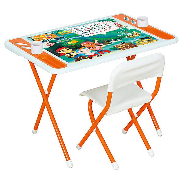 Набор детской складной мебели Джейк и пираты нетландии, Dami, оранжевыйДетские столы и стулья<br>Комплект мебели для дошкольника из серии DAMIBABY EVRO состоит из складного столика и складного стульчика. Столешница декорирована ярким рисунком и обучающими табличками: «русский алфавит», «геометрические фигуры», «цвета». Дополнительные информационные блоки показывают малышу, какие есть стороны света, какие составные части у пиратского корабля. Логические задачки для ума – простые математические примеры. <br><br>Дополнительная информация:<br><br>Рабочая поверхность столешницы влагоустойчива. Имеются специальные углубления для стаканов-непроливаек, ручек, карандашей и фломастеров. <br><br>Высота стула и глубина спинки не регулируются.<br><br>Набор мебели легко складывается для компактного хранения и транспортировки. <br><br>Материал: металл, пластик<br><br>Размер упаковки: 82х79х14 см<br>Вес: 8,6 кг<br><br>Набор детской складной мебели Damibaby evro Пираты, Dami, оранжевый можно купить в нашем интернет-магазине.<br><br>Ширина мм: 710<br>Глубина мм: 730<br>Высота мм: 150<br>Вес г: 10400<br>Возраст от месяцев: 36<br>Возраст до месяцев: 84<br>Пол: Унисекс<br>Возраст: Детский<br>SKU: 4998103