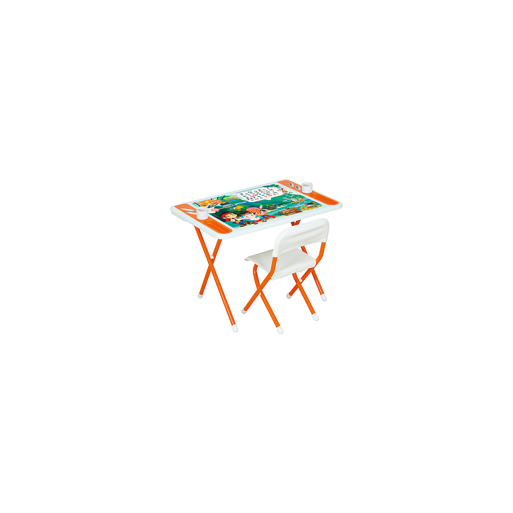 Набор детской складной мебели Джейк и пираты нетландии, Dami, оранжевыйКомплект мебели для дошкольника из серии DAMIBABY EVRO состоит из складного столика и складного стульчика. Столешница декорирована ярким рисунком и обучающими табличками: «русский алфавит», «геометрические фигуры», «цвета». Дополнительные информационные блоки показывают малышу, какие есть стороны света, какие составные части у пиратского корабля. Логические задачки для ума – простые математические примеры. <br><br>Дополнительная информация:<br><br>Рабочая поверхность столешницы влагоустойчива. Имеются специальные углубления для стаканов-непроливаек, ручек, карандашей и фломастеров. <br><br>Высота стула и глубина спинки не регулируются.<br><br>Набор мебели легко складывается для компактного хранения и транспортировки. <br><br>Материал: металл, пластик<br><br>Размер упаковки: 82х79х14 см<br>Вес: 8,6 кг<br><br>Набор детской складной мебели Damibaby evro Пираты, Dami, оранжевый можно купить в нашем интернет-магазине.<br><br>Ширина мм: 710<br>Глубина мм: 730<br>Высота мм: 150<br>Вес г: 10400<br>Возраст от месяцев: 36<br>Возраст до месяцев: 84<br>Пол: Унисекс<br>Возраст: Детский<br>SKU: 4998103