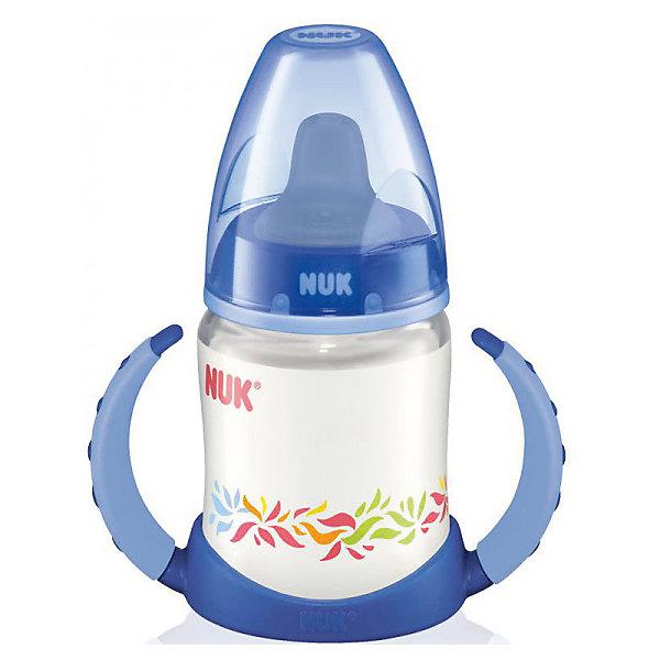 Бутылочка First Choice пласт. (ПП) 150 мл., NUK, синийПоильники<br>Бутылочка First Choice пласт. (ПП) 150 мл. от известного производителя высококачественных товаров для новорожденных NUK (Нук). Эта оригинальная бутылочка с силиконовой насадкой для питья идеально подходит деткам на смешанном питании. Удобные ручки понравятся малышу – за них очень удобно хвататься и они не скользят. Безопасные материалы и отсутствие в составе бутылочки и соски бисфенола А отвечают всем необходимым стандартам. Специальное строение соски позволяет адаптироваться под ротик малыша и оставляют место для языка. Отверстие для воздуха предотвращает заглатывание воздуха вместе с сосанием и снижает риск возникновения колик у крохи. Удобный колпачок бутылочки сохранит гигиену бутылочки и позволяет брать бутылочку с собой, а закупоривающее кольцо позволит бутылочке быть закрытой даже без колпачка. К бутылочки подходят любые соски из серии NUK First Choice.<br><br>Дополнительная информация:<br><br>- Материал: силикон, пластик<br>- Объем: 150 мл. <br><br>Бутылочку First Choice пласт. (ПП) 150 мл., NUK (Нук) можно купить в нашем интернет-магазине.<br>Подробнее:<br>• Для детей в возрасте: от 6 месяцев<br>• Номер товара: 4998399<br>Страна производитель: Германия<br>Ширина мм: 120; Глубина мм: 65; Высота мм: 185; Вес г: 133; Возраст от месяцев: -2147483648; Возраст до месяцев: 2147483647; Пол: Унисекс; Возраст: Детский; SKU: 4998399;