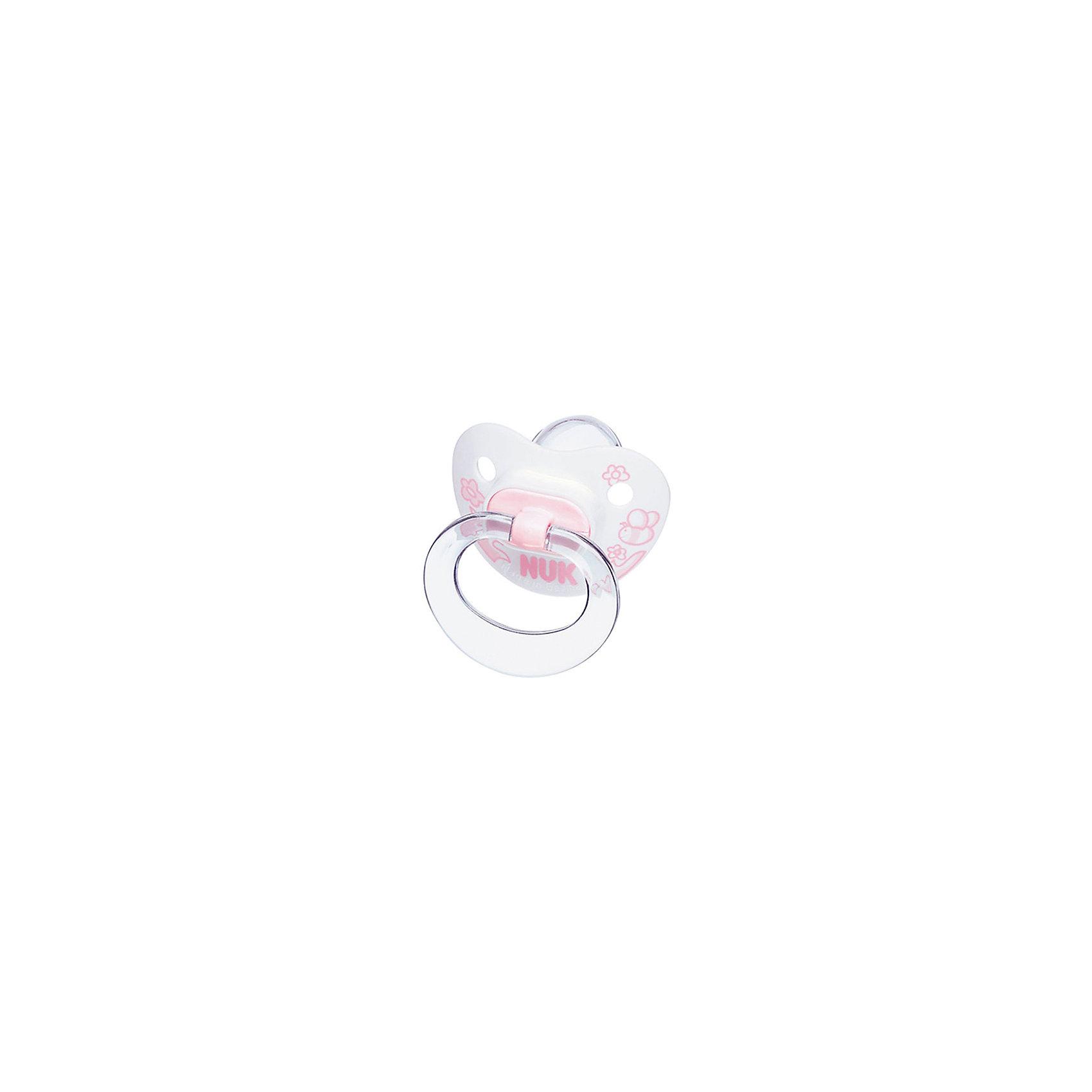 Пустышка для сна BABY ROSE с кольц. сил. р.1, NUKПустышка для сна BABY ROSE с кольц. сил. р.1 от немецкого производителя высококачественных товаров для новорожденных NUK (Нук). Эта пустышка с  нежным дизайном в пастельно-розовых тонах придет по вкусу как малышу, так и маме. Подходит для нежного сна малышки – колечко складывается, а загубник имеет вентиляционное отверстие для обеспечения максимального комфорта малышки. Пустышка выполнена из силикона, полностью прозрачна и не имеет собственного вкуса или запаха. Форма соски протестирована и одобрена ортодонтами и подстраивается под ротик малыша, оставляя место для движения языка и не деформируя формирование прикуса крохи. Специально разработанная схема строения соски не пропускает воздух во время сосания, предотвращая появление коликов. Превосходное качество и безопасность для вашего ребенка.<br><br>Дополнительная информация:<br>- Материал: силикон, пластик<br>- Размер соски: 1<br>- Система NUK AIR <br><br>Пустышку для сна BABY ROSE с кольц. сил. р.1, NUK (Нук) можно купить в нашем интернет-магазине.<br>Подробнее:<br>• Для детей в возрасте: от 0 до 6 месяцев <br>• Номер товара: 4998436<br>Страна производитель: Германия<br><br>Ширина мм: 9<br>Глубина мм: 9<br>Высота мм: 173<br>Вес г: 38<br>Возраст от месяцев: 0<br>Возраст до месяцев: 6<br>Пол: Унисекс<br>Возраст: Детский<br>SKU: 4998436