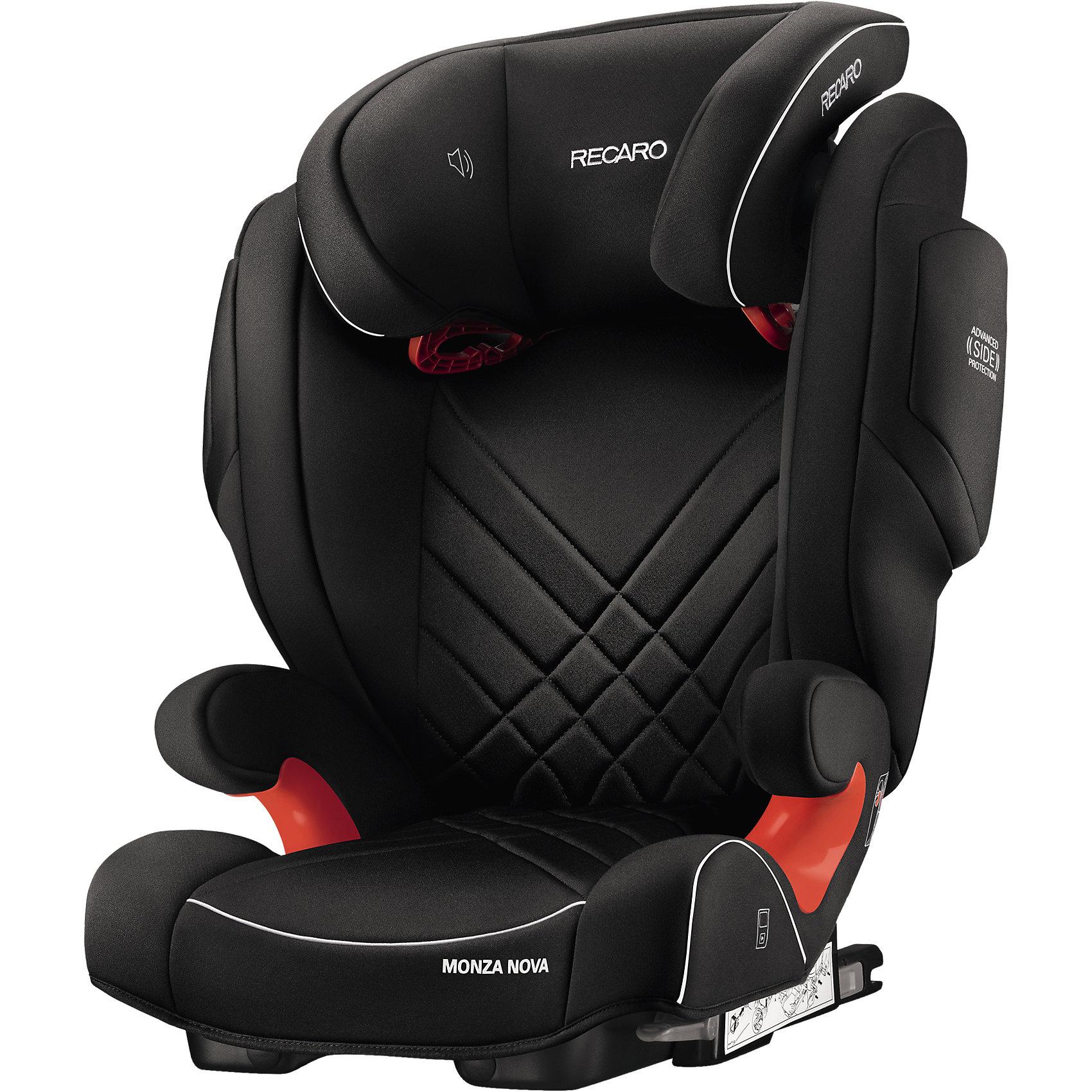 Автокресло Monza Nova 2 SF,  15-36 кг, Recaro, perfomance blackАвтокресло Recaro Monza Nova 2 SF:<br><br>Характеристики:<br><br>• группа: 2-3;<br>• вес ребенка: 15-36 кг;<br>• возраст ребенка: от 3 до 12 лет;<br>• способ установки: по ходу движения;<br>• способ крепления: система Isofix;<br>• материал: пластик, полиэстер;<br>• размер автокресла: 74х48х62 см;<br>• вес автокресла: 6,7 кг;<br>• вес в упаковке: 8 кг.<br><br>Особенности автокресла Monza Nova 2 SF: <br><br>• регулируемая глубина подголовника, <br>• регулируемая высота подголовника – 11 положений, <br>• усиленная боковая защита, <br>• интегрированные динамики: воспроизведения колыбельных, звуков природы, аудиосказок,<br>• провод для подключения плеера к динамикам в комплекте,<br>• сетчатый кармашек для MP3-плеера.<br><br>Автокресло Monza Nova 2 SF устанавливается на заднем сидении автомобиля с помощью системы Изофикс. Выдвижные крепления кресла совмещаются с системой Изофикс в автомобиле. Обивка автокресла выполнена из дышащего материала, который не впитывает посторонние запахи. Автокресло оснащено вентиляционными отверстиями для циркуляции воздуха и регуляции теплообмена. <br><br>Комплектация: <br><br>• автокресло Monza Nova 2 SF группы II/III;<br>• стерео динамики, встроенные в подголовник;<br>• провод для подключения воспроизводящего устройства к динамикам.<br><br>Автокресло Monza Nova 2 SF, 15-36 кг, Recaro, perfomance black можно купить в нашем магазине.<br><br>Ширина мм: 730<br>Глубина мм: 540<br>Высота мм: 540<br>Вес г: 8500<br>Возраст от месяцев: 36<br>Возраст до месяцев: 144<br>Пол: Унисекс<br>Возраст: Детский<br>SKU: 4999092