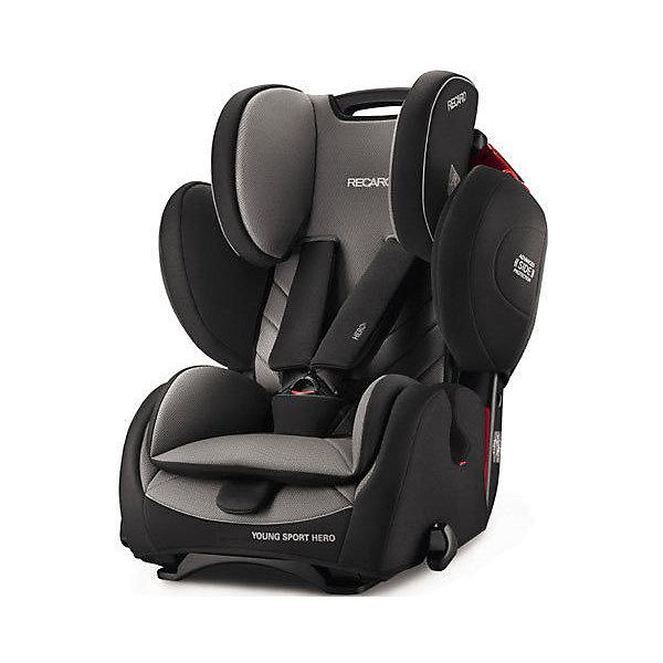 Автокресло RECARO Young Sport Hero, 9-36 кг, carbon blackГруппа 1-2-3  (от 9 до 36 кг)<br>Характеристики автокресла Young Sport HERO: <br><br>• группа автокресла: 1-2-3;<br>• вес ребенка: 9-36 кг;<br>• возраст ребенка: от 9 месяцев до 12 лет;<br>• способ установки: по ходу движения автомобиля;<br>• способ крепления: штатными ремнями безопасности автомобиля;<br>• материал: пластик, полиэстер.<br><br>Особенности автокресла: <br><br>• высота подголовника регулируется, 3 положения;<br>• высота ремней регулируется, 3 положения;<br>• меняется угол наклона спинки: положение «сидя» и «полусидя», 10-15 градусов;<br>• 5-ти точечные ремни с мягкими накладками, защита от перекручивания – этими ремнями ребенка можно пристегнуть на возрастном этапе 9 месяцев-4 года;<br>• после 4-х лет ребенка в автокресле пристегивают штатными 3-х точечными ремнями безопасности;<br>• анатомический вкладыш с мягкой подушечкой, для детей от 9 месяцев до 4-х лет;<br>• усиленная боковая защита;<br>• система вентиляции;<br>• дышащие, износостойкие чехлы – стирка при температуре 30 градусов.<br><br>Размеры:<br><br>• высота спинки автокресла: 47/58 см;<br>• ширина сиденья: 32 см;<br>• глубина сиденья: 30 см;<br>• ширина подголовника: 19 см;<br>• ширина вкладыша: 24 см;<br>• размеры автокресла: 70х47х57 см;<br>• вес: 8,3 кг;<br>• вес в упаковке: 9,9 кг.<br><br>Автокресло Young Sport Hero, 9-36 кг, Recaro, carbon black можно купить в нашем интернет-магазине.<br>Ширина мм: 500; Глубина мм: 580; Высота мм: 700; Вес г: 10000; Цвет: черный/серый; Возраст от месяцев: 9; Возраст до месяцев: 144; Пол: Унисекс; Возраст: Детский; SKU: 4999103;