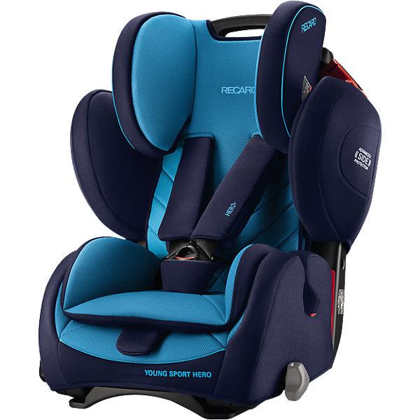 Автокресло RECARO Young Sport Hero, 9-36 кг, xenon blueГруппа 1-2-3  (от 9 до 36 кг)<br>Характеристики автокресла Young Sport HERO: <br><br>• группа автокресла: 1-2-3;<br>• вес ребенка: 9-36 кг;<br>• возраст ребенка: от 9 месяцев до 12 лет;<br>• способ установки: по ходу движения автомобиля;<br>• способ крепления: штатными ремнями безопасности автомобиля;<br>• материал: пластик, полиэстер.<br><br>Особенности автокресла: <br><br>• высота подголовника регулируется, 3 положения;<br>• высота ремней регулируется, 3 положения;<br>• меняется угол наклона спинки: положение «сидя» и «полусидя», 10-15 градусов;<br>• 5-ти точечные ремни с мягкими накладками, защита от перекручивания – этими ремнями ребенка можно пристегнуть на возрастном этапе 9 месяцев-4 года;<br>• после 4-х лет ребенка в автокресле пристегивают штатными 3-х точечными ремнями безопасности;<br>• анатомический вкладыш с мягкой подушечкой, для детей от 9 месяцев до 4-х лет;<br>• усиленная боковая защита;<br>• система вентиляции;<br>• дышащие, износостойкие чехлы – стирка при температуре 30 градусов.<br><br>Размеры:<br><br>• высота спинки автокресла: 47/58 см;<br>• ширина сиденья: 32 см;<br>• глубина сиденья: 30 см;<br>• ширина подголовника: 19 см;<br>• ширина вкладыша: 24 см;<br>• размеры автокресла: 70х47х57 см;<br>• вес: 8,3 кг;<br>• вес в упаковке: 9,9 кг.<br><br>Автокресло Young Sport Hero, 9-36 кг, Recaro, xenon blue можно купить в нашем интернет-магазине.<br>Ширина мм: 690; Глубина мм: 573; Высота мм: 495; Вес г: 10168; Цвет: синий; Возраст от месяцев: 9; Возраст до месяцев: 144; Пол: Мужской; Возраст: Детский; SKU: 4999108;