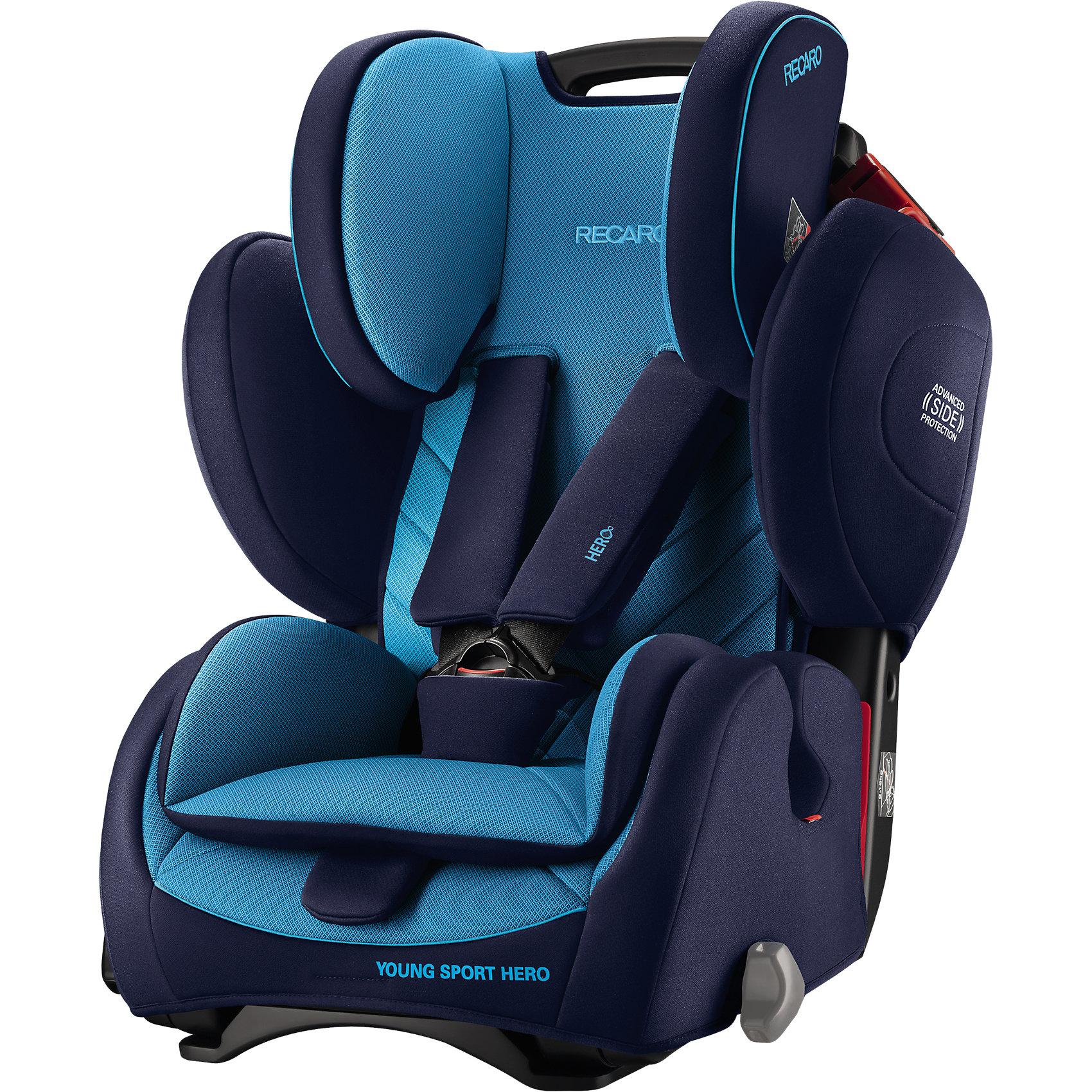 Автокресло RECARO Young Sport Hero, 9-36 кг, xenon blueГруппа 1-2-3 (От 9 до 36 кг)<br>Характеристики автокресла Young Sport HERO: <br><br>• группа автокресла: 1-2-3;<br>• вес ребенка: 9-36 кг;<br>• возраст ребенка: от 9 месяцев до 12 лет;<br>• способ установки: по ходу движения автомобиля;<br>• способ крепления: штатными ремнями безопасности автомобиля;<br>• материал: пластик, полиэстер.<br><br>Особенности автокресла: <br><br>• высота подголовника регулируется, 3 положения;<br>• высота ремней регулируется, 3 положения;<br>• меняется угол наклона спинки: положение «сидя» и «полусидя», 10-15 градусов;<br>• 5-ти точечные ремни с мягкими накладками, защита от перекручивания – этими ремнями ребенка можно пристегнуть на возрастном этапе 9 месяцев-4 года;<br>• после 4-х лет ребенка в автокресле пристегивают штатными 3-х точечными ремнями безопасности;<br>• анатомический вкладыш с мягкой подушечкой, для детей от 9 месяцев до 4-х лет;<br>• усиленная боковая защита;<br>• система вентиляции;<br>• дышащие, износостойкие чехлы – стирка при температуре 30 градусов.<br><br>Размеры:<br><br>• высота спинки автокресла: 47/58 см;<br>• ширина сиденья: 32 см;<br>• глубина сиденья: 30 см;<br>• ширина подголовника: 19 см;<br>• ширина вкладыша: 24 см;<br>• размеры автокресла: 70х47х57 см;<br>• вес: 8,3 кг;<br>• вес в упаковке: 9,9 кг.<br><br>Автокресло Young Sport Hero, 9-36 кг, Recaro, xenon blue можно купить в нашем интернет-магазине.<br><br>Ширина мм: 690<br>Глубина мм: 573<br>Высота мм: 495<br>Вес г: 10168<br>Цвет: синий<br>Возраст от месяцев: 9<br>Возраст до месяцев: 144<br>Пол: Мужской<br>Возраст: Детский<br>SKU: 4999108