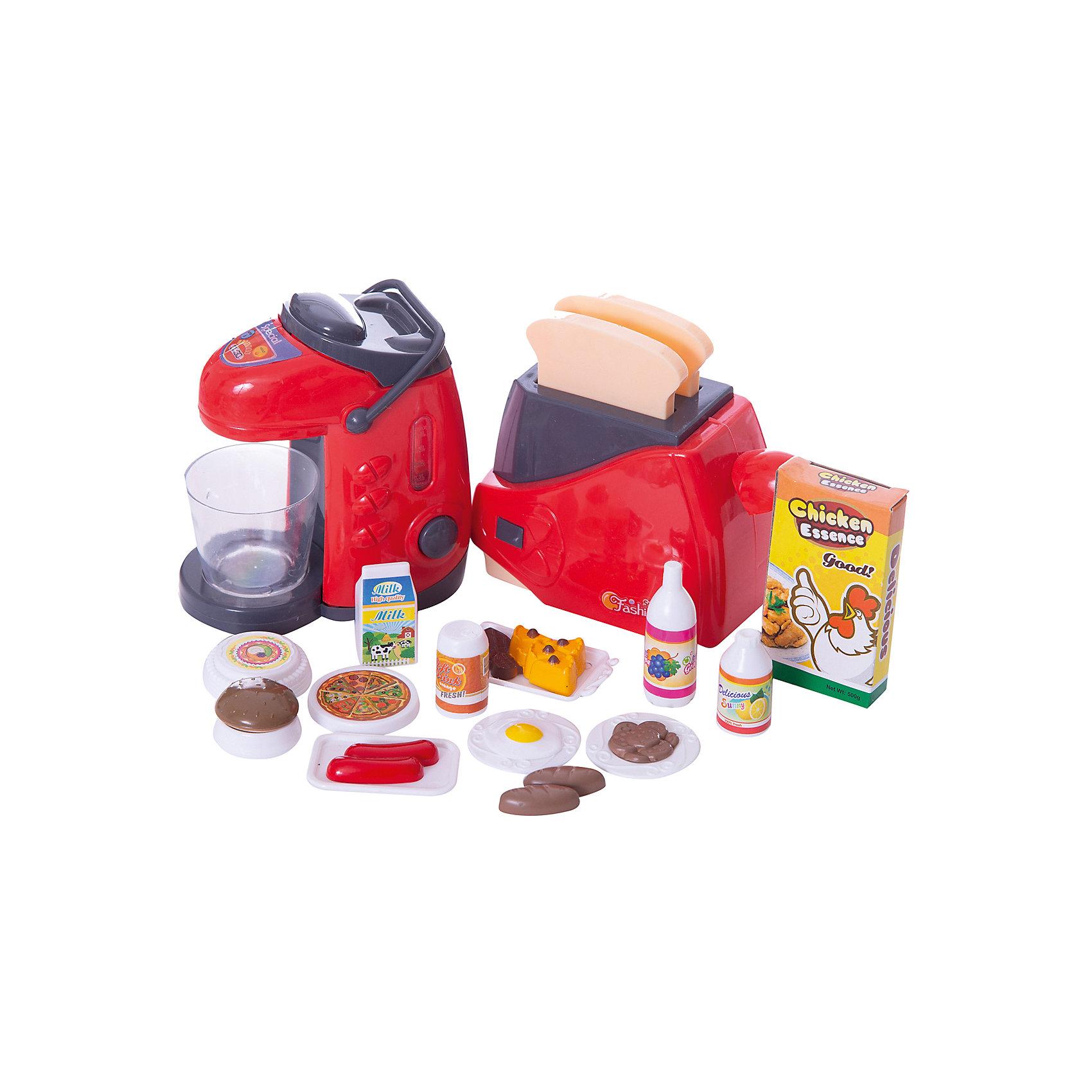 - Набор детской посуды и продуктов: ти-пот и тостер, с аксессуарами, JUNFA